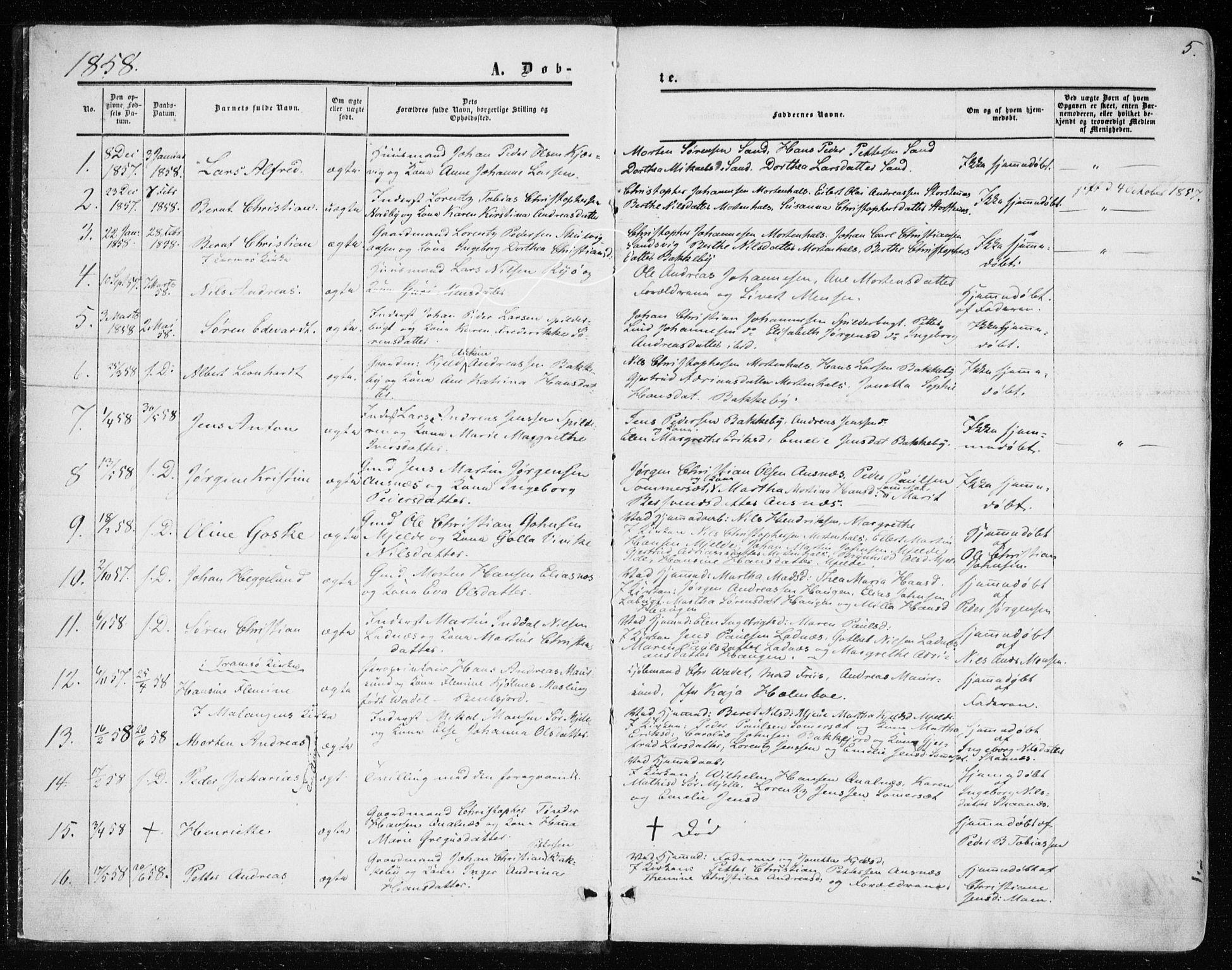 SATØ, Balsfjord sokneprestembete, Parish register (official) no. 1, 1858-1870, p. 5