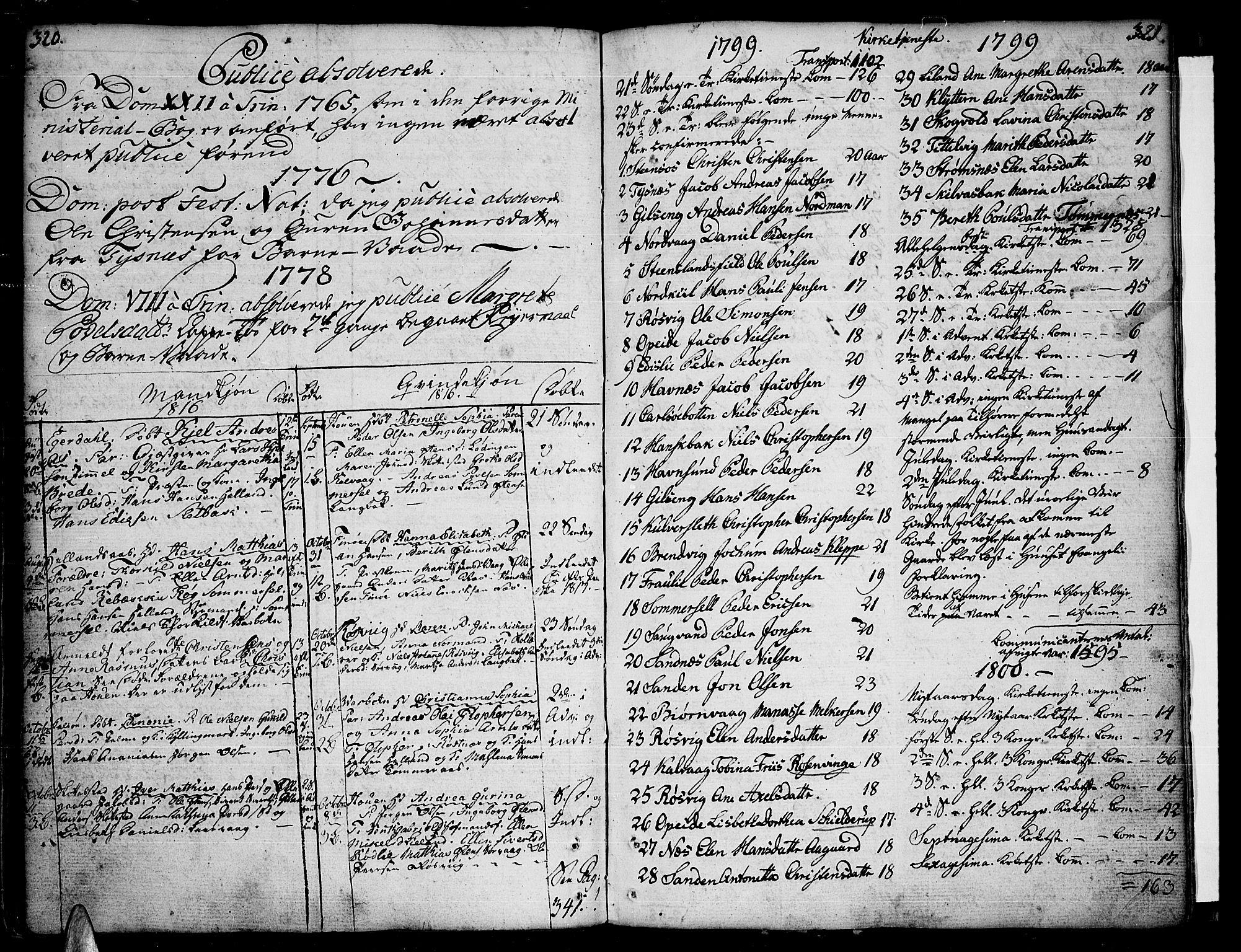 SAT, Ministerialprotokoller, klokkerbøker og fødselsregistre - Nordland, 859/L0841: Parish register (official) no. 859A01, 1766-1821, p. 320-321