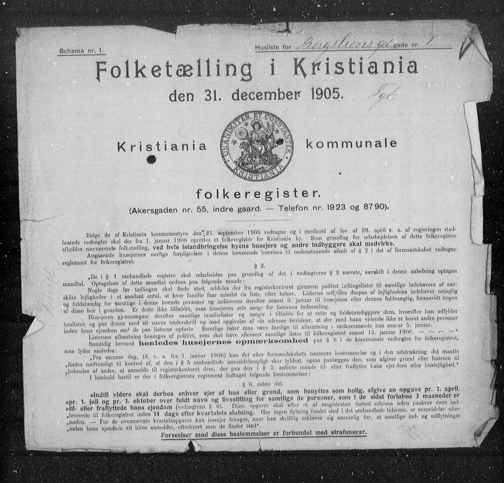 OBA, Municipal Census 1905 for Kristiania, 1905, p. 2048