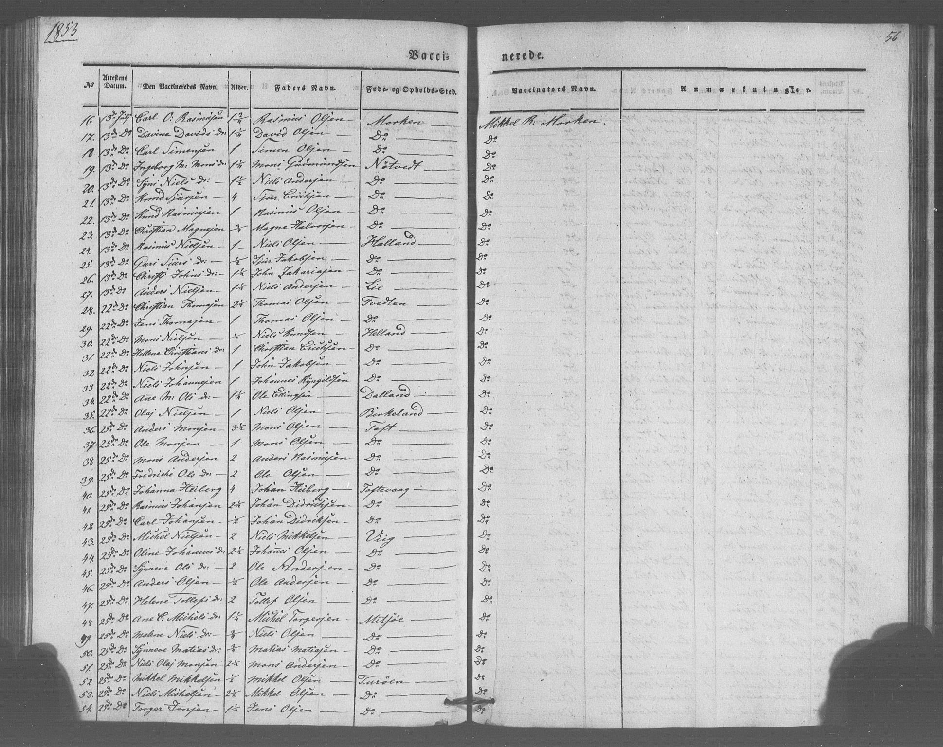 SAB, Manger sokneprestembete, H/Haa: Parish register (official) no. A 10, 1844-1859, p. 56