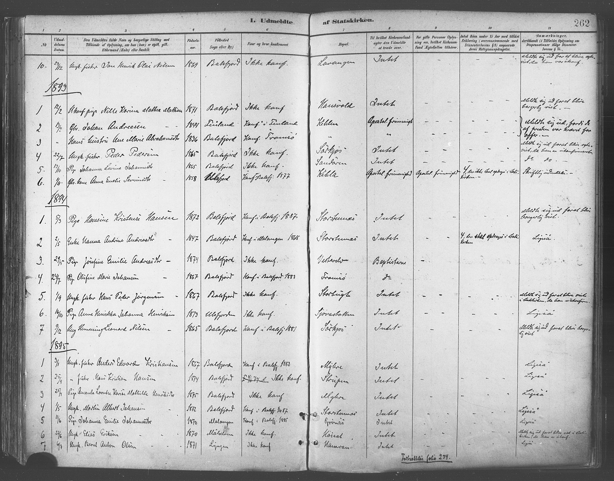 SATØ, Balsfjord sokneprestembete, Parish register (official) no. 5, 1884-1897, p. 262