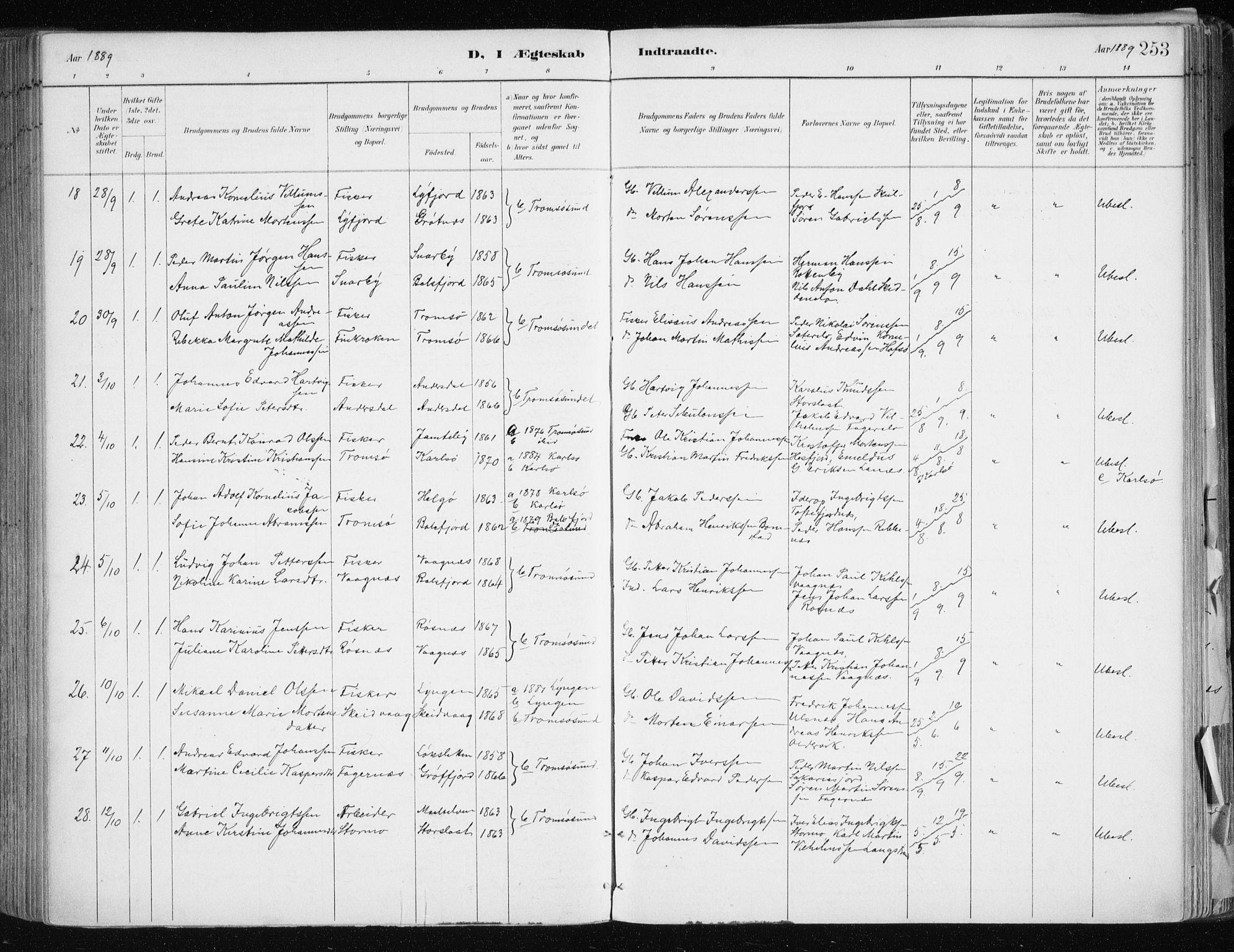 SATØ, Tromsøysund sokneprestkontor, G/Ga/L0005kirke: Parish register (official) no. 5, 1888-1896, p. 253