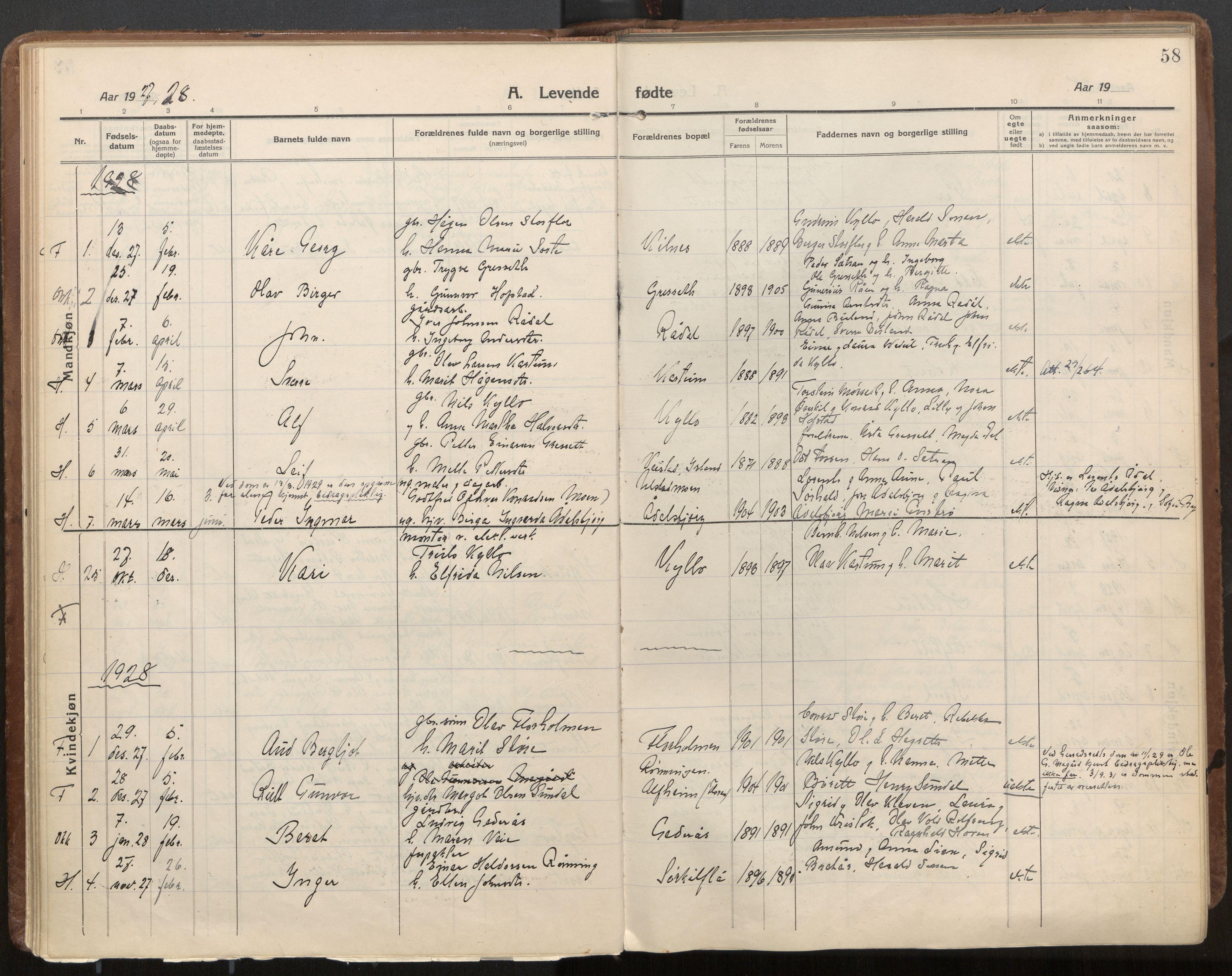 SAT, Ministerialprotokoller, klokkerbøker og fødselsregistre - Nord-Trøndelag, 703/L0037: Parish register (official) no. 703A10, 1915-1932, p. 58