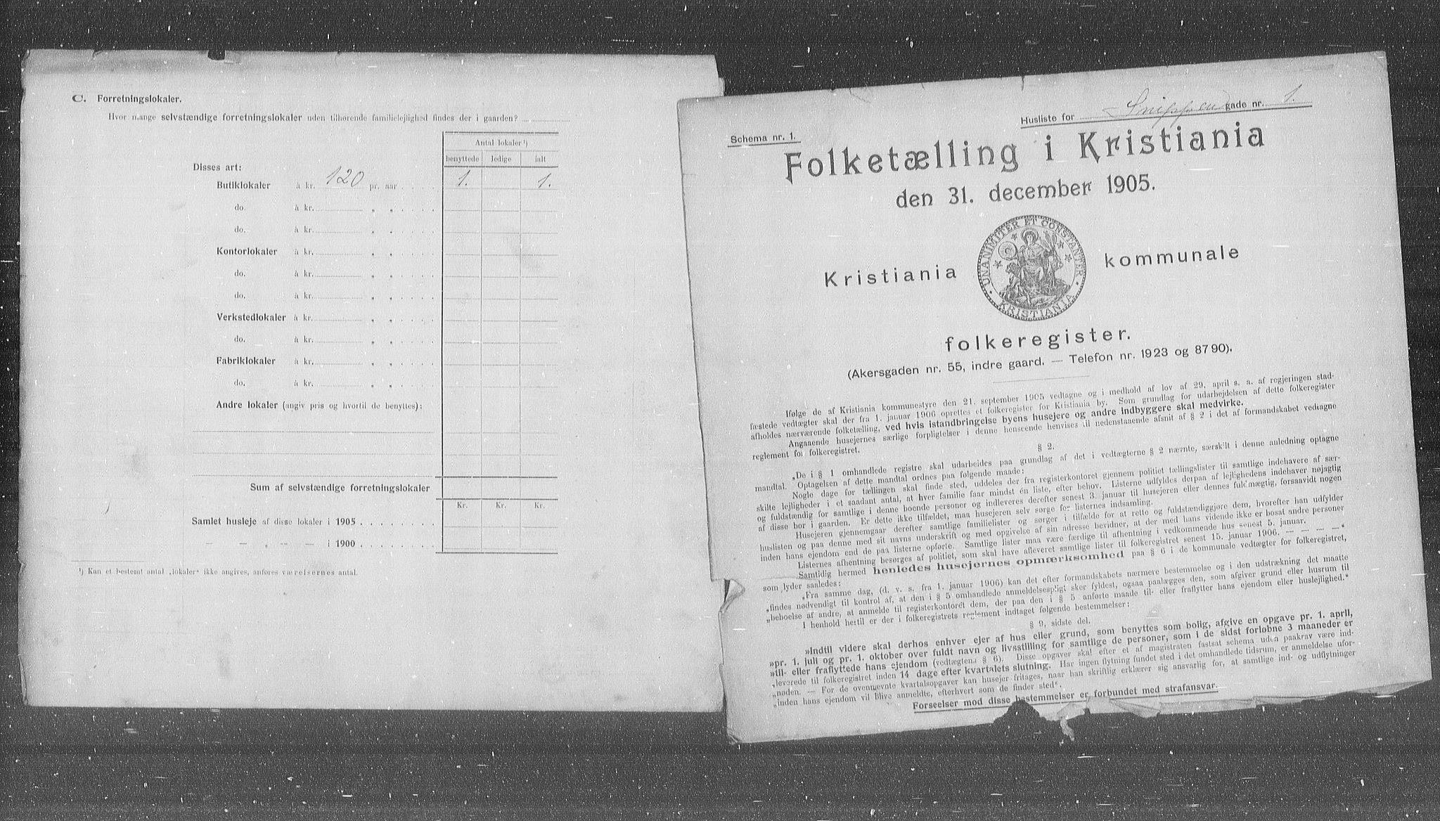 OBA, Municipal Census 1905 for Kristiania, 1905, p. 50825