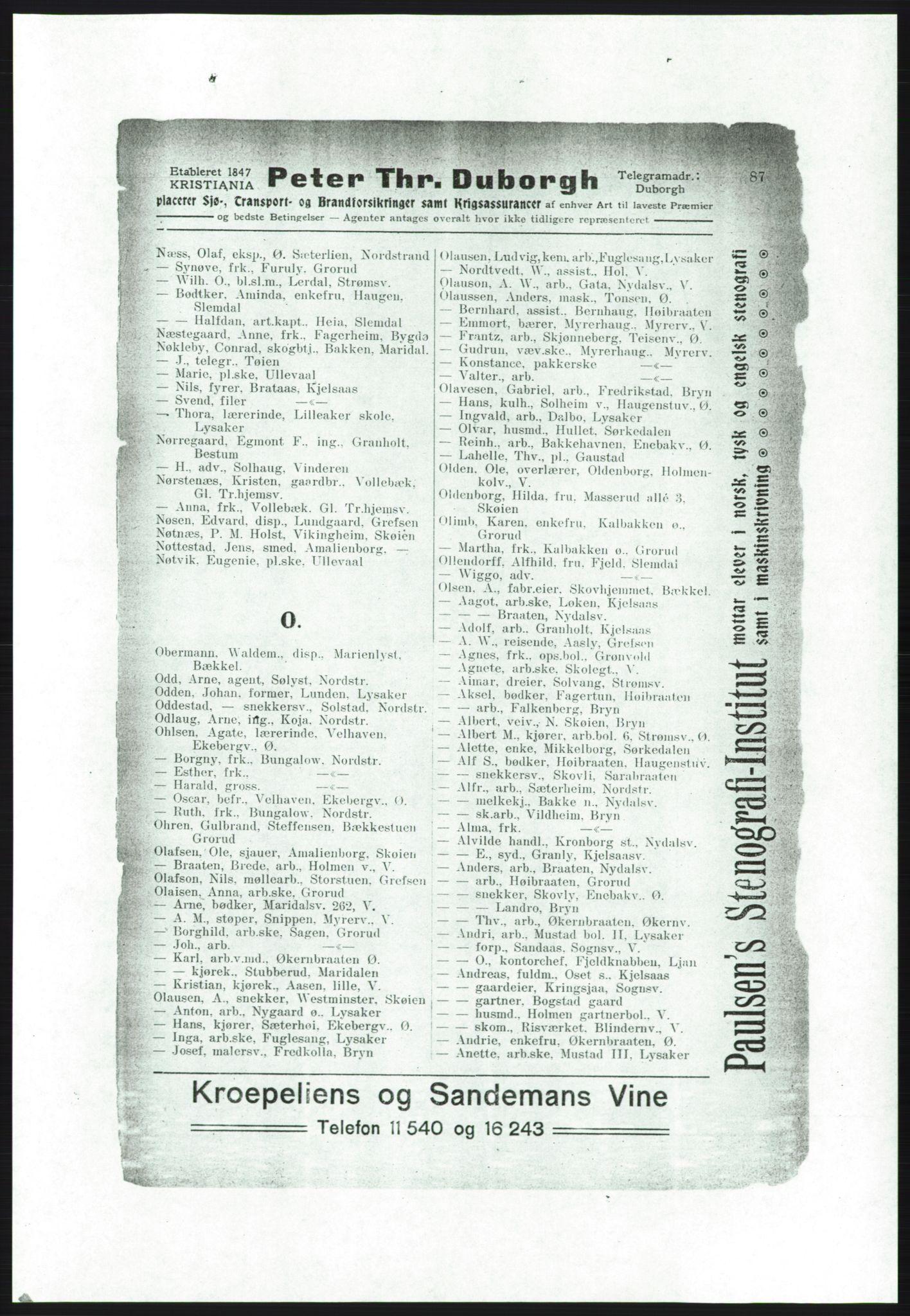 RA, Aker adressebok/adressekalender (publikasjon)*, 1916-1917, p. 87