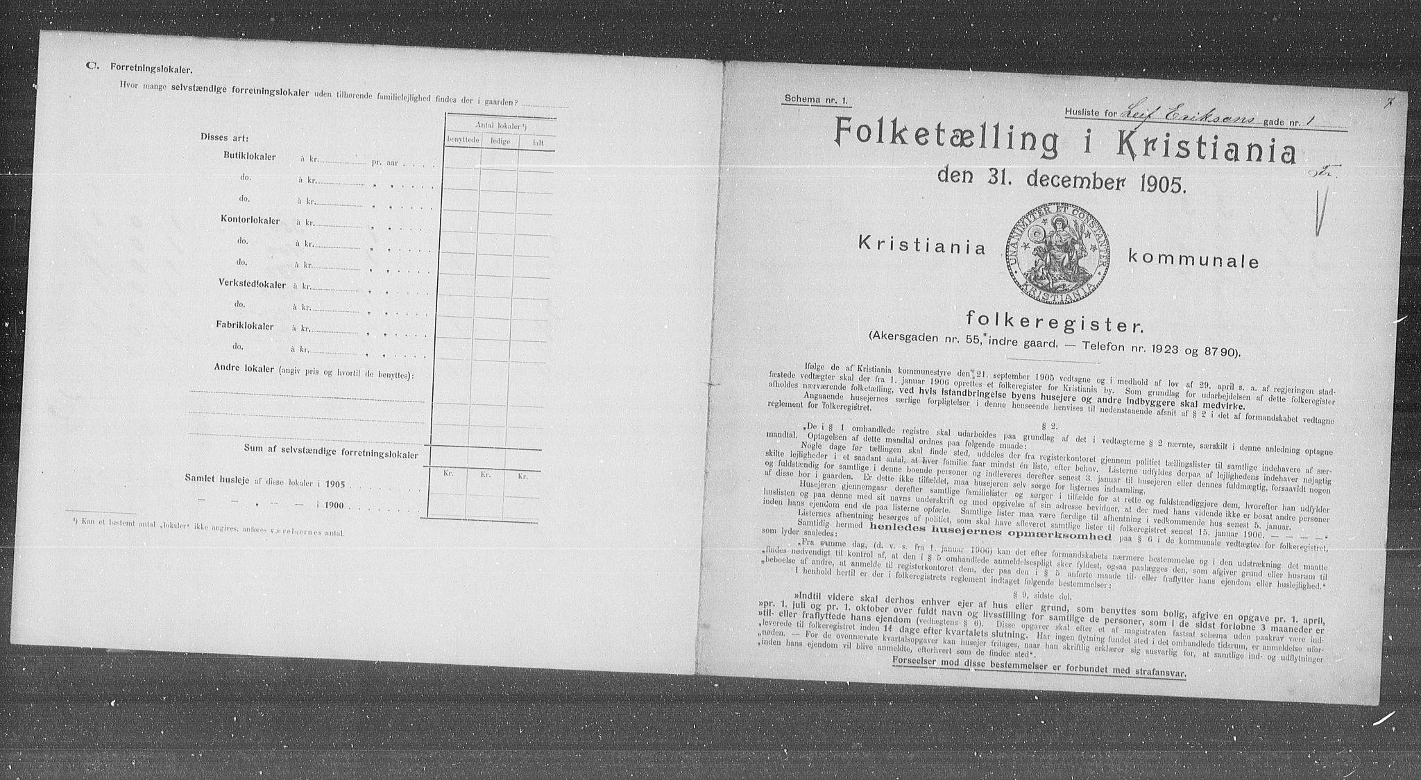 OBA, Municipal Census 1905 for Kristiania, 1905, p. 30070