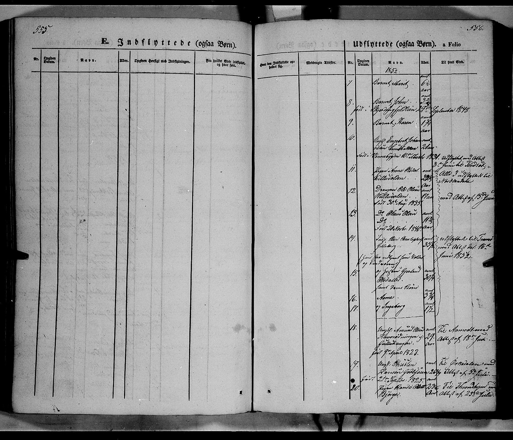 SAH, Ringebu prestekontor, Parish register (official) no. 6, 1848-1859, p. 555-556