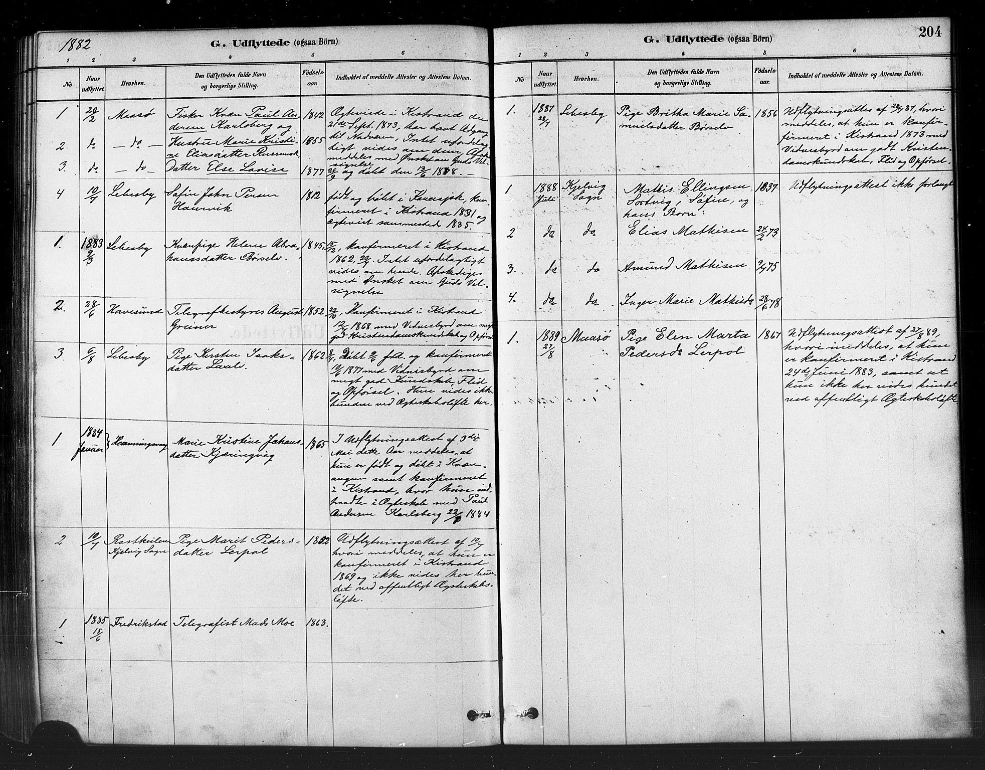 SATØ, Kistrand/Porsanger sokneprestembete, H/Ha/L0007.kirke: Parish register (official) no. 7, 1881-1889, p. 204