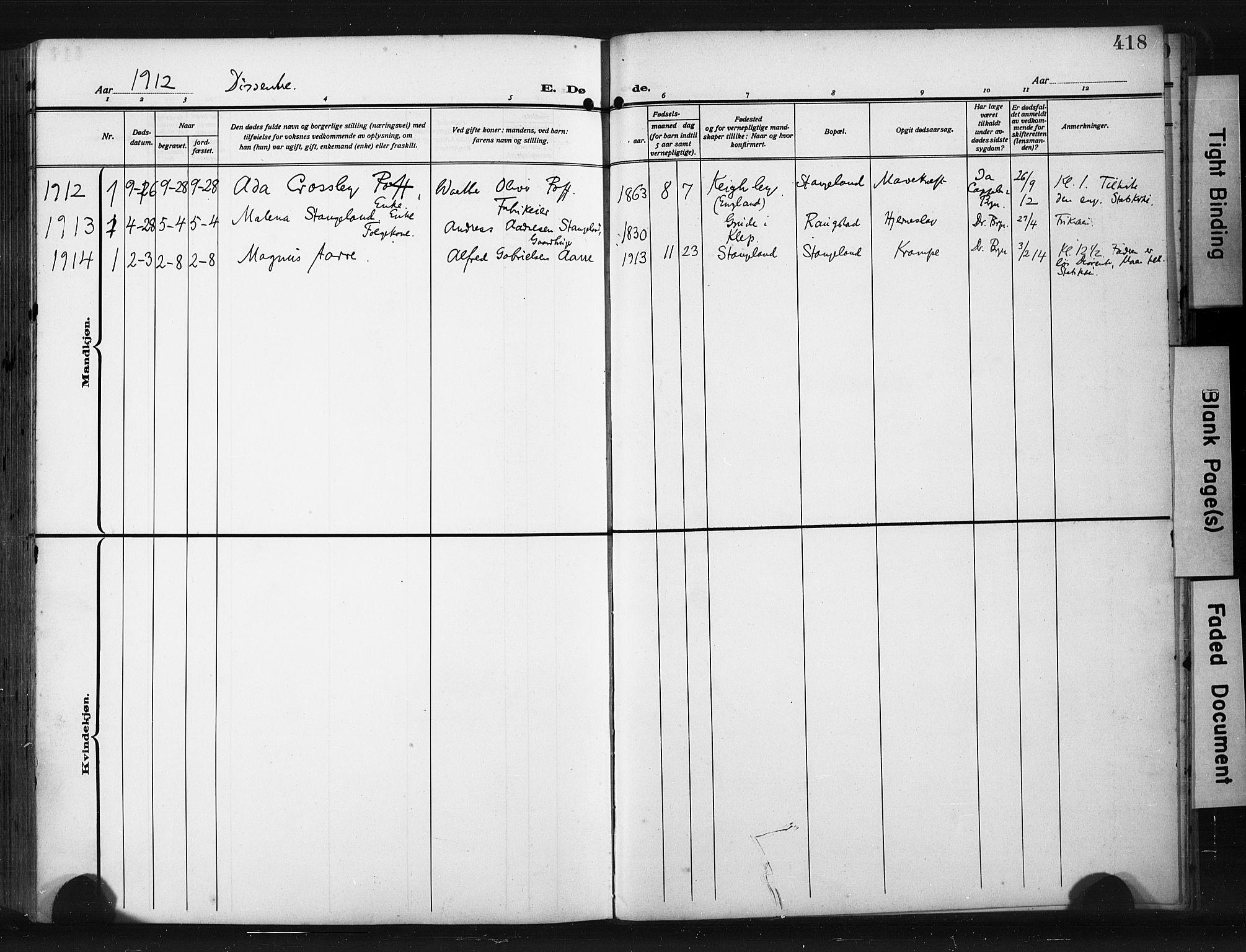 SAST, Høyland sokneprestkontor, 30BA/L0017: Parish register (official) no. A 15, 1912-1924, p. 418