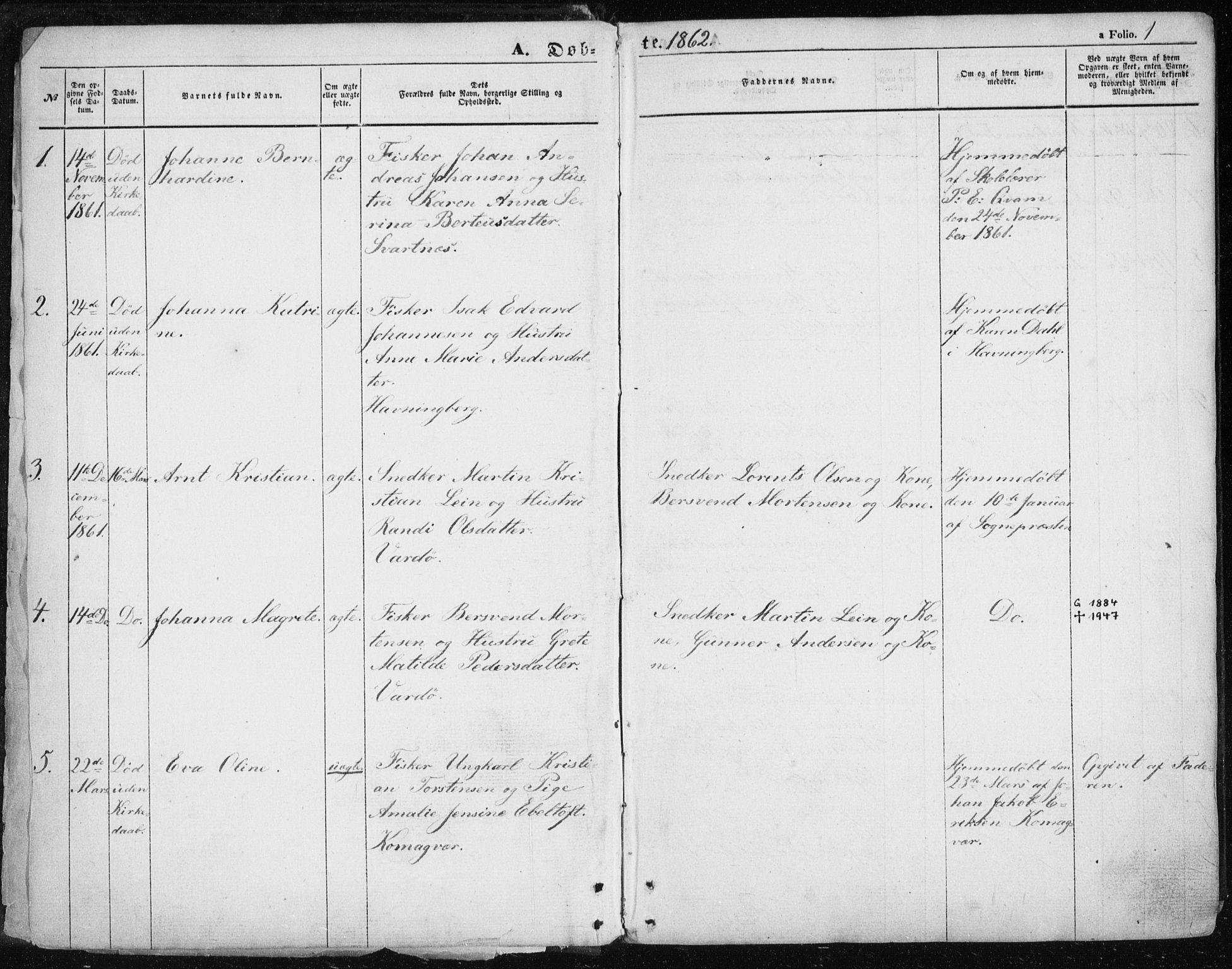 SATØ, Vardø sokneprestkontor, H/Ha/L0004kirke: Parish register (official) no. 4, 1862-1871, p. 1