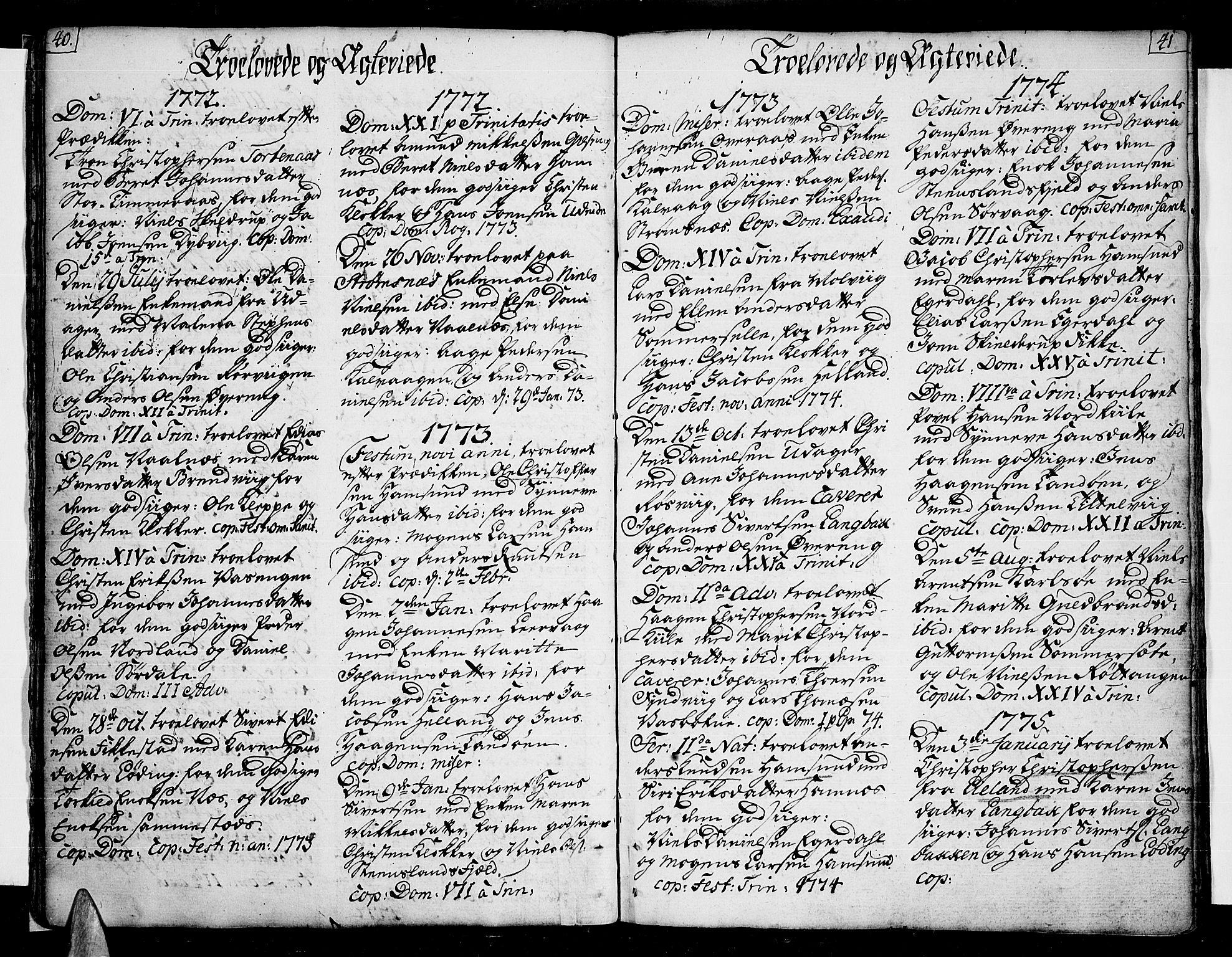 SAT, Ministerialprotokoller, klokkerbøker og fødselsregistre - Nordland, 859/L0841: Parish register (official) no. 859A01, 1766-1821, p. 40-41