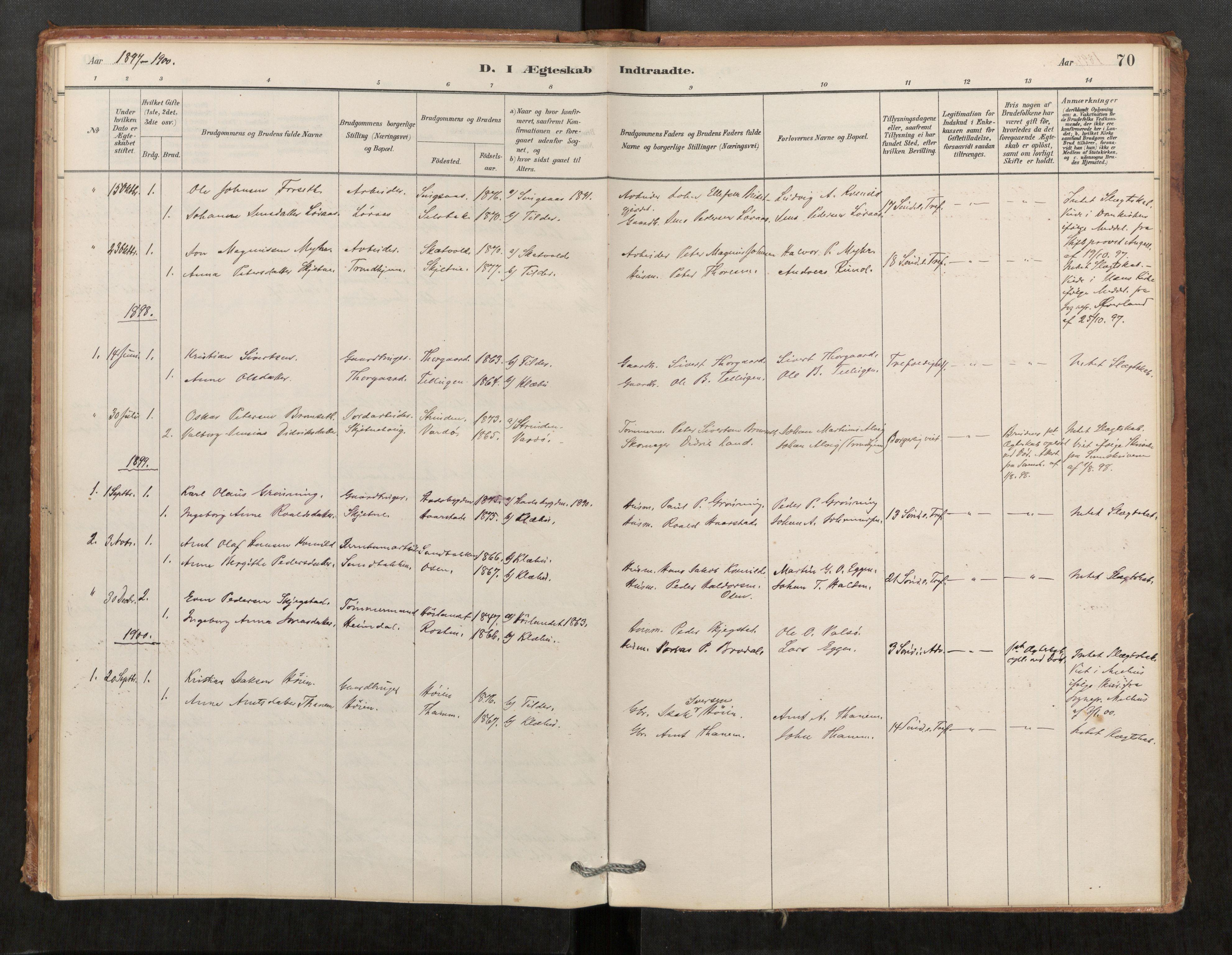 SAT, Klæbu sokneprestkontor, Parish register (official) no. 1, 1880-1900, p. 70