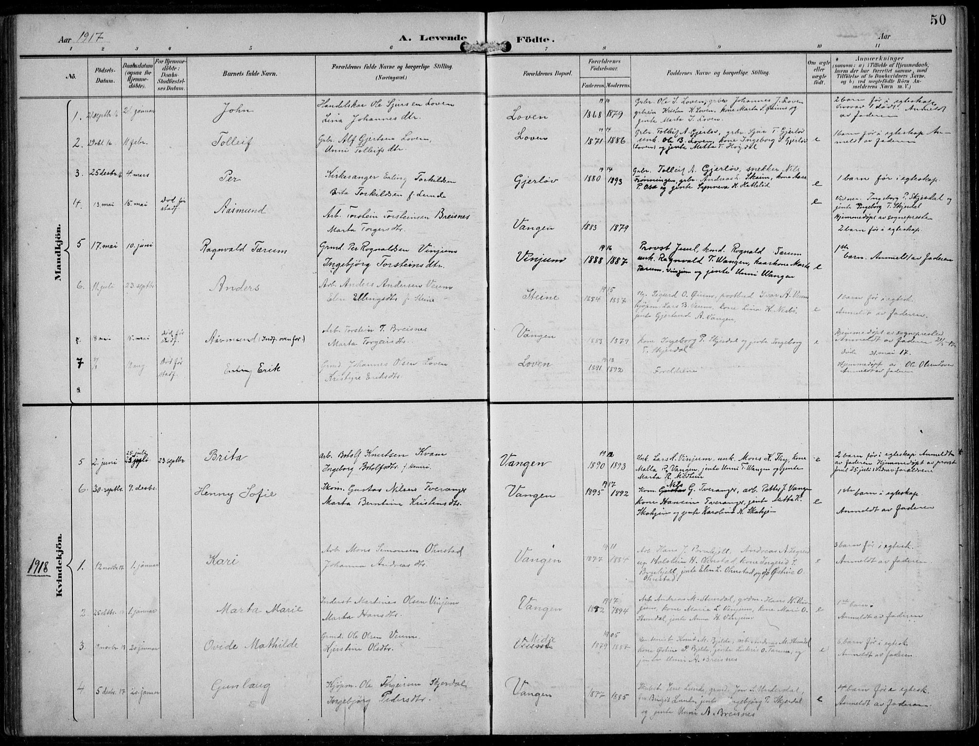 SAB, Aurland sokneprestembete, H/Hb/Hba/L0003: Parish register (copy) no. A 3, 1896-1939, p. 50