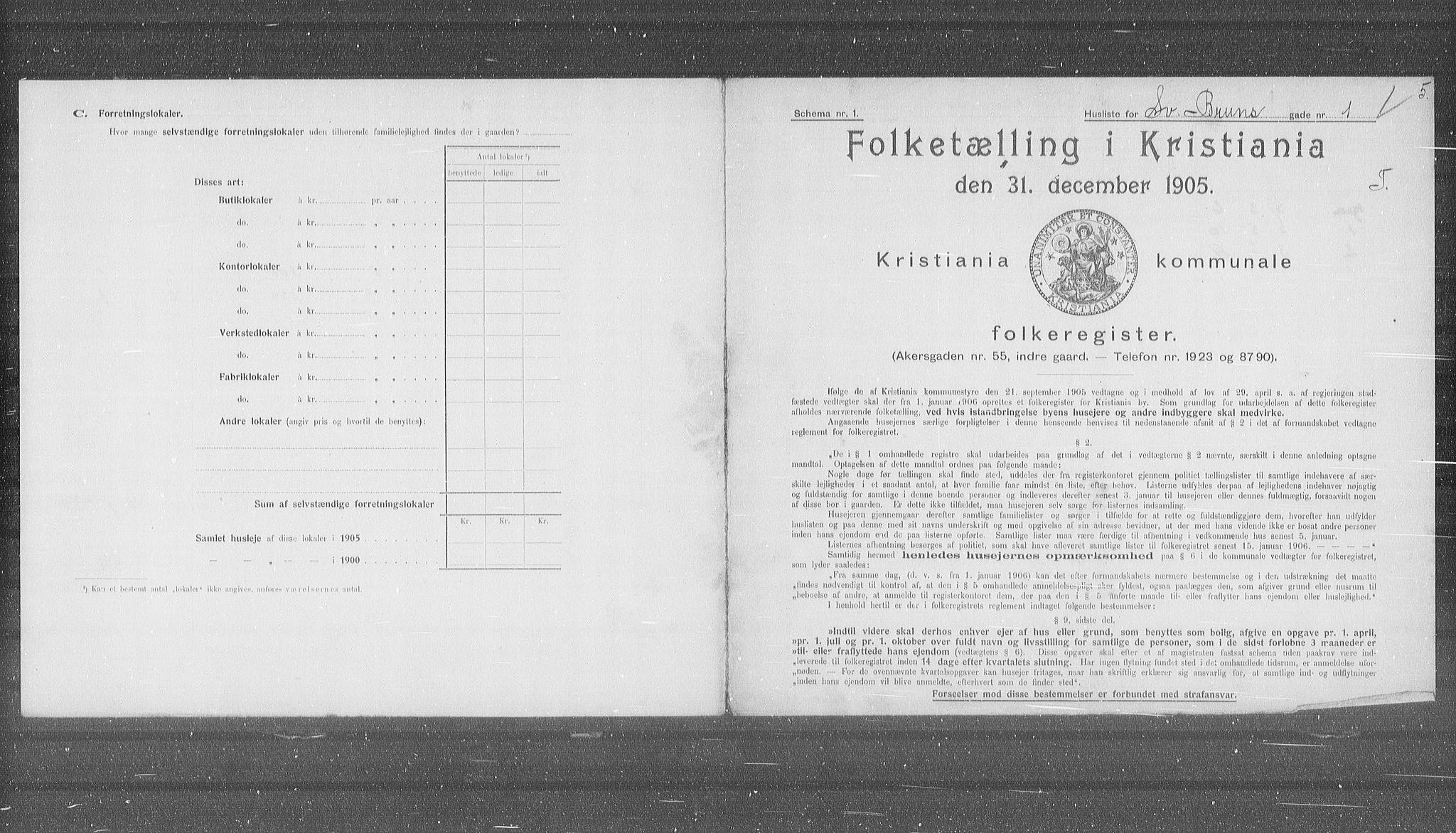 OBA, Municipal Census 1905 for Kristiania, 1905, p. 54778