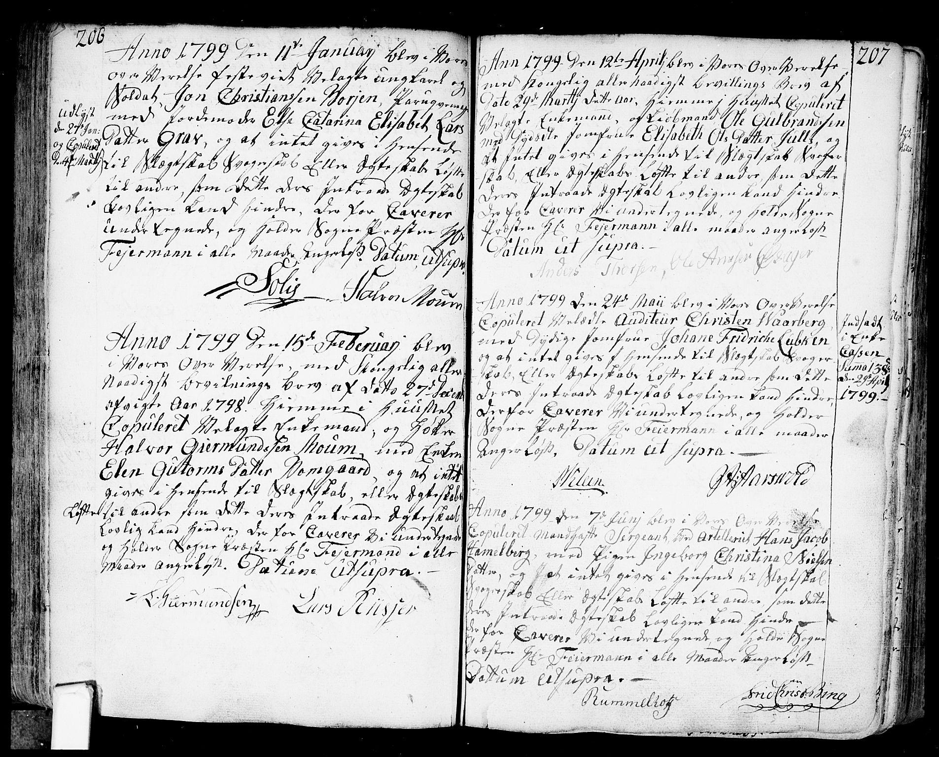 SAO, Fredrikstad prestekontor Kirkebøker, F/Fa/L0002: Parish register (official) no. 2, 1750-1804, p. 206-207
