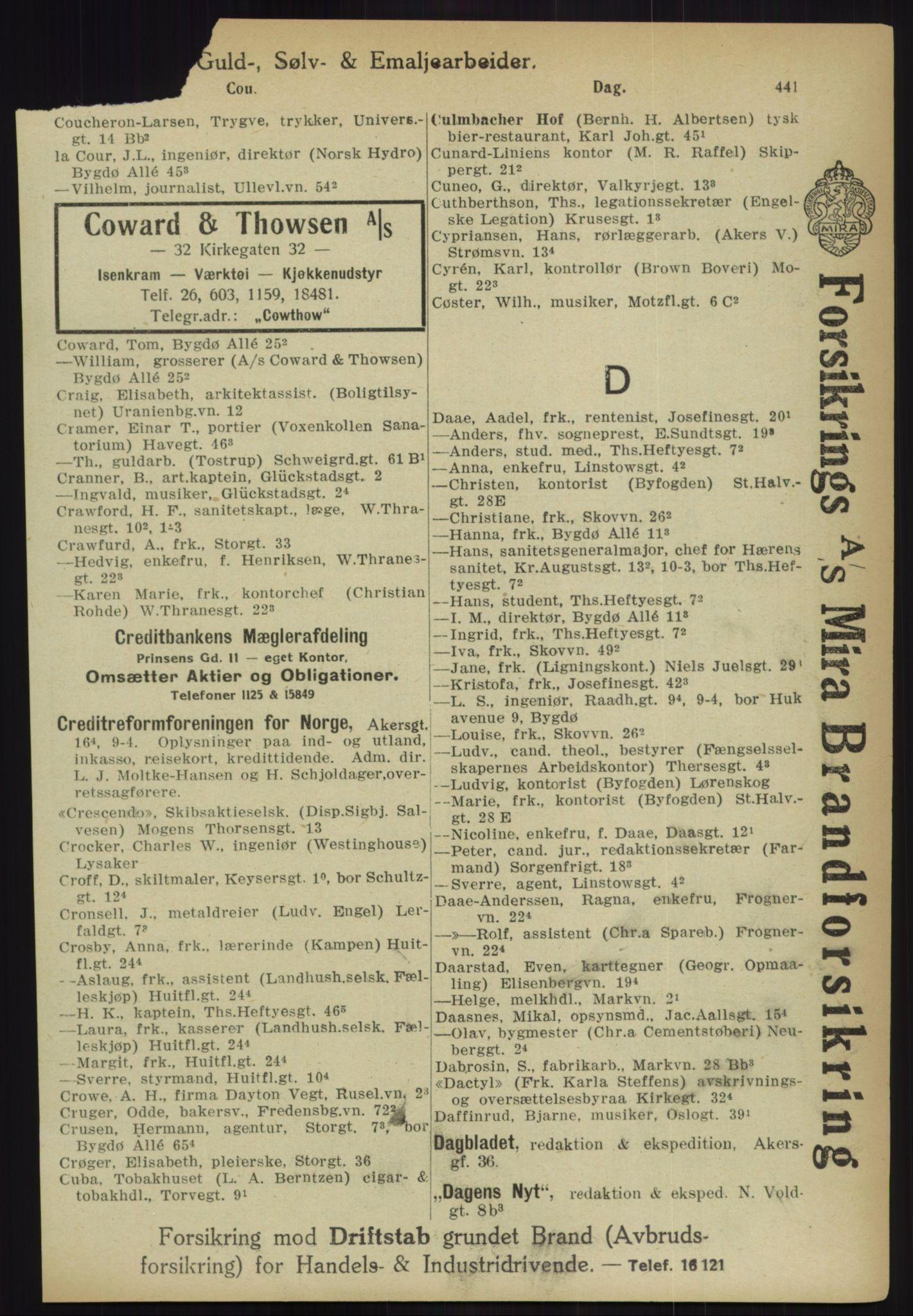 PUBL, Kristiania/Oslo adressebok, 1918, p. 466