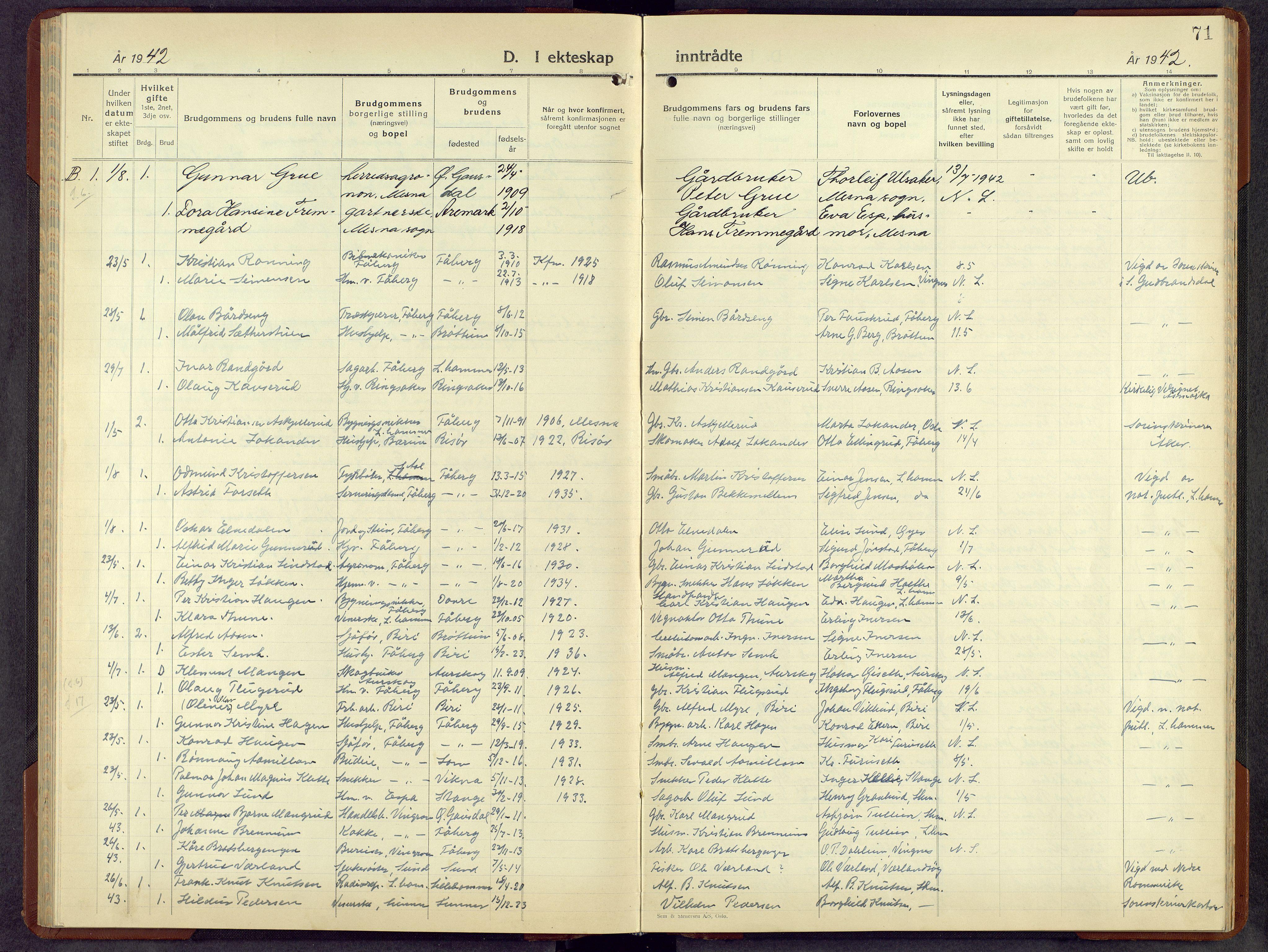 SAH, Fåberg prestekontor, H/Ha/Hab/L0018: Parish register (copy) no. 18, 1940-1967, p. 71
