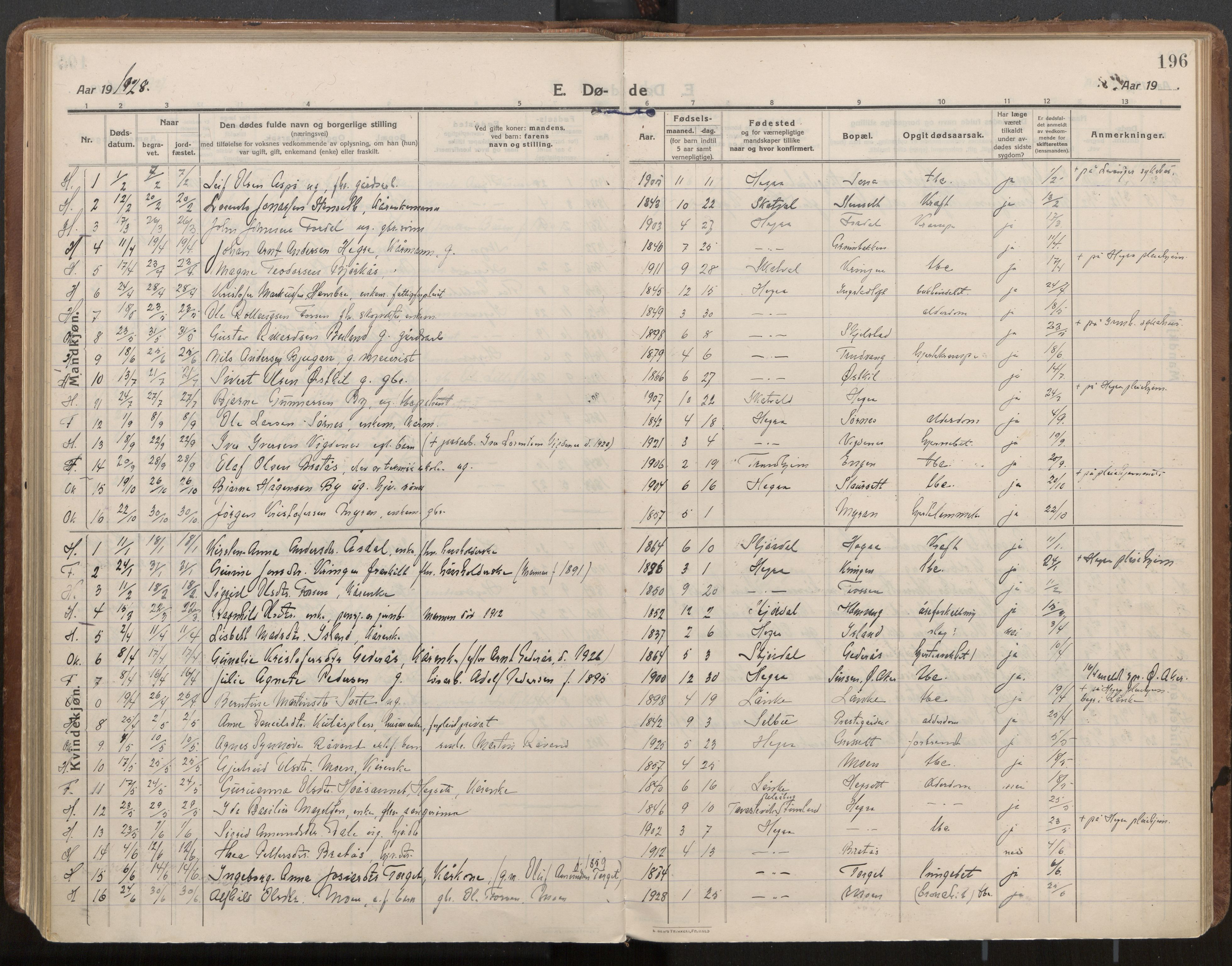 SAT, Ministerialprotokoller, klokkerbøker og fødselsregistre - Nord-Trøndelag, 703/L0037: Parish register (official) no. 703A10, 1915-1932, p. 196