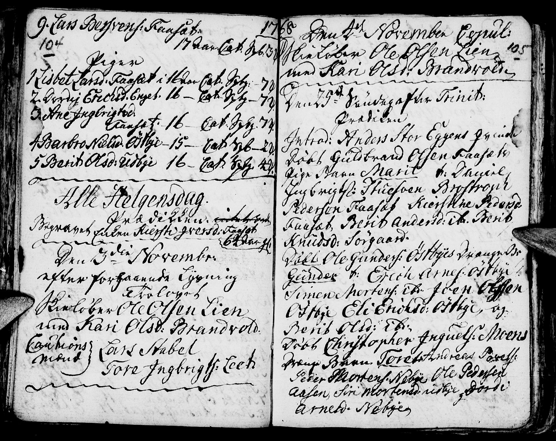 SAH, Tynset prestekontor, Parish register (official) no. 6, 1763-1779, p. 104-105