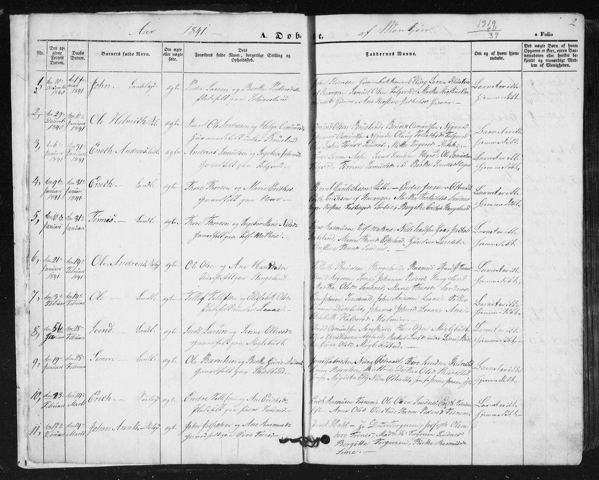 SAST, Høyland sokneprestkontor, 30BA/L0008: Parish register (official) no. A 8, 1841-1856, p. 2
