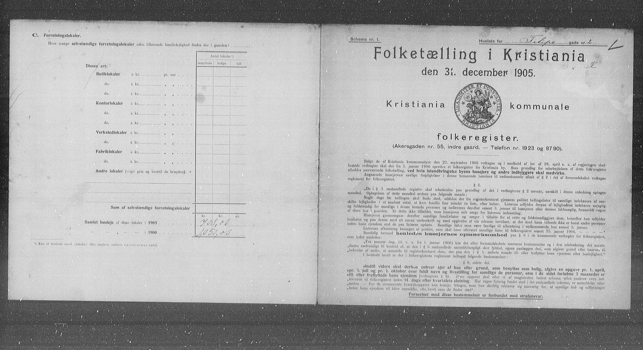 OBA, Municipal Census 1905 for Kristiania, 1905, p. 12489