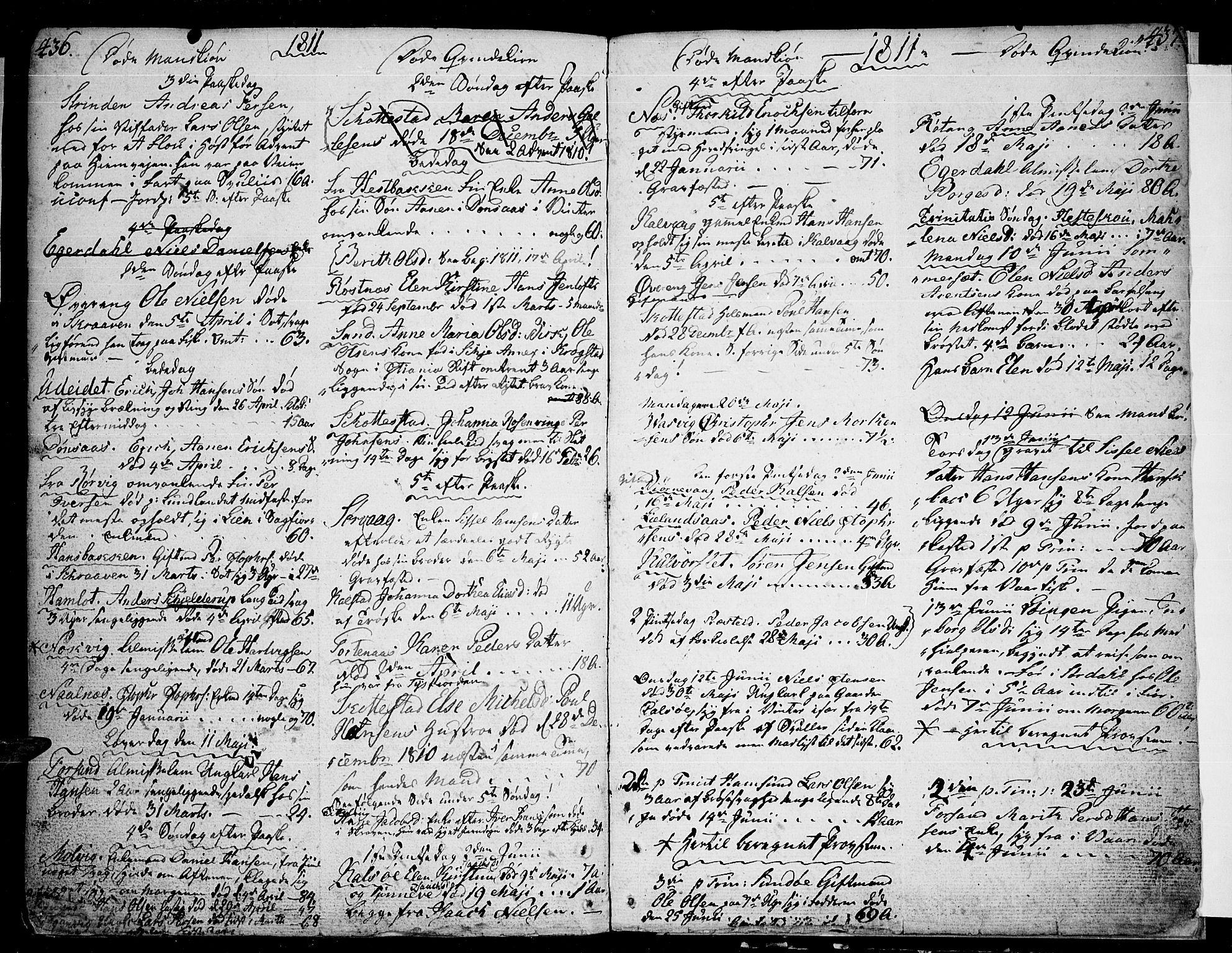 SAT, Ministerialprotokoller, klokkerbøker og fødselsregistre - Nordland, 859/L0841: Parish register (official) no. 859A01, 1766-1821, p. 436-437