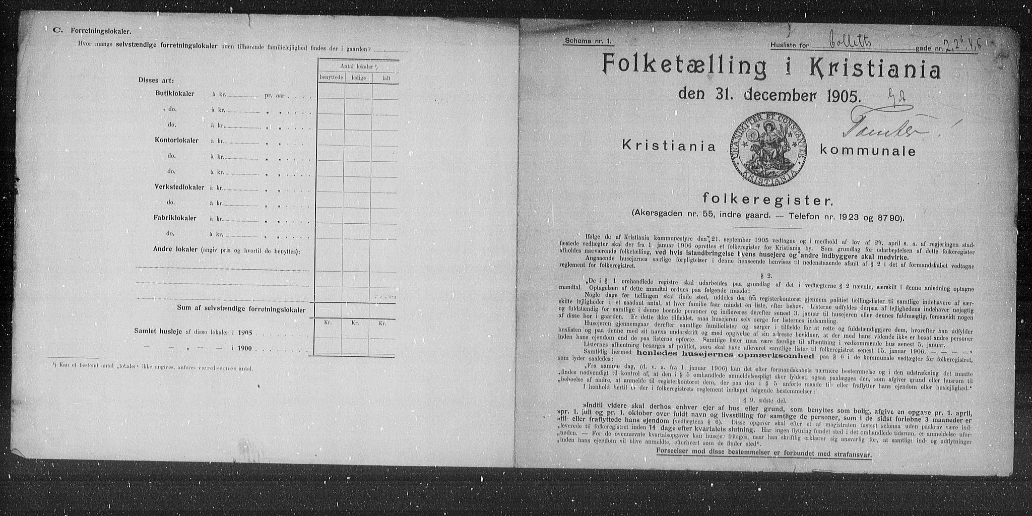 OBA, Municipal Census 1905 for Kristiania, 1905, p. 6793
