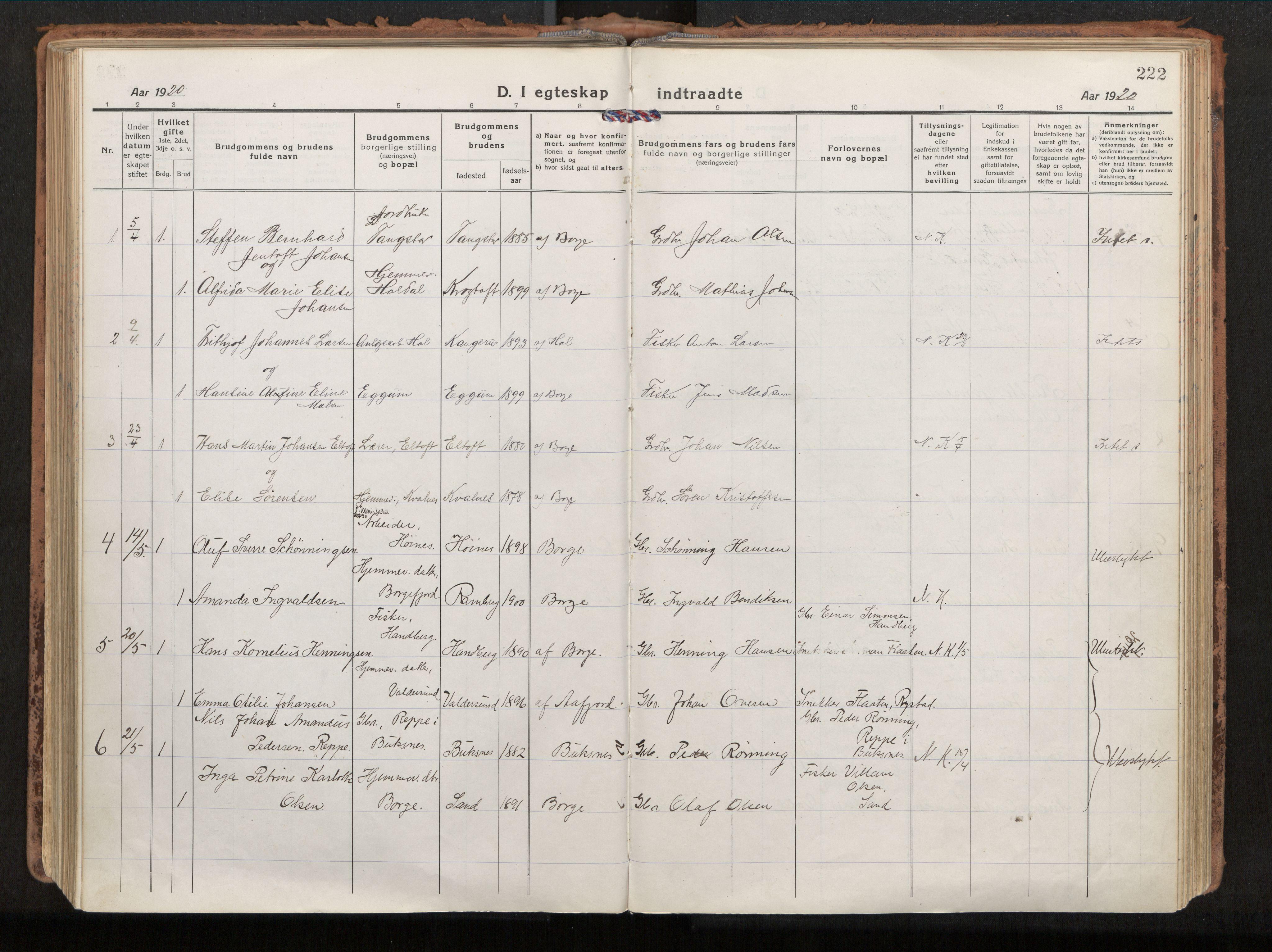 SAT, Ministerialprotokoller, klokkerbøker og fødselsregistre - Nordland, 880/L1136: Parish register (official) no. 880A10, 1919-1927, p. 222