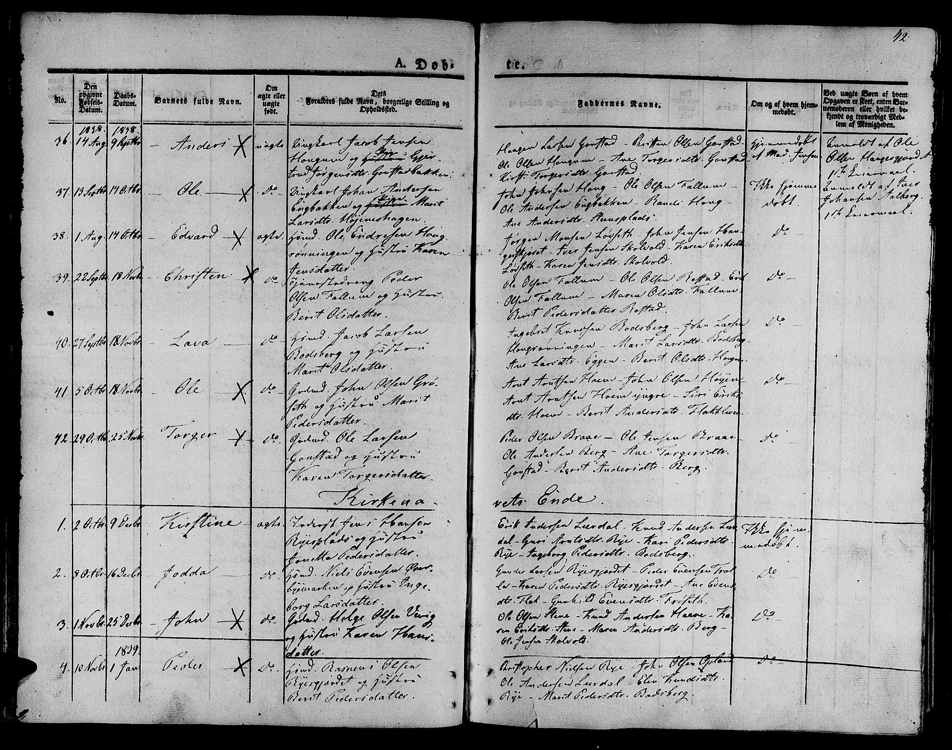 SAT, Ministerialprotokoller, klokkerbøker og fødselsregistre - Sør-Trøndelag, 612/L0374: Parish register (official) no. 612A07 /1, 1829-1845, p. 42