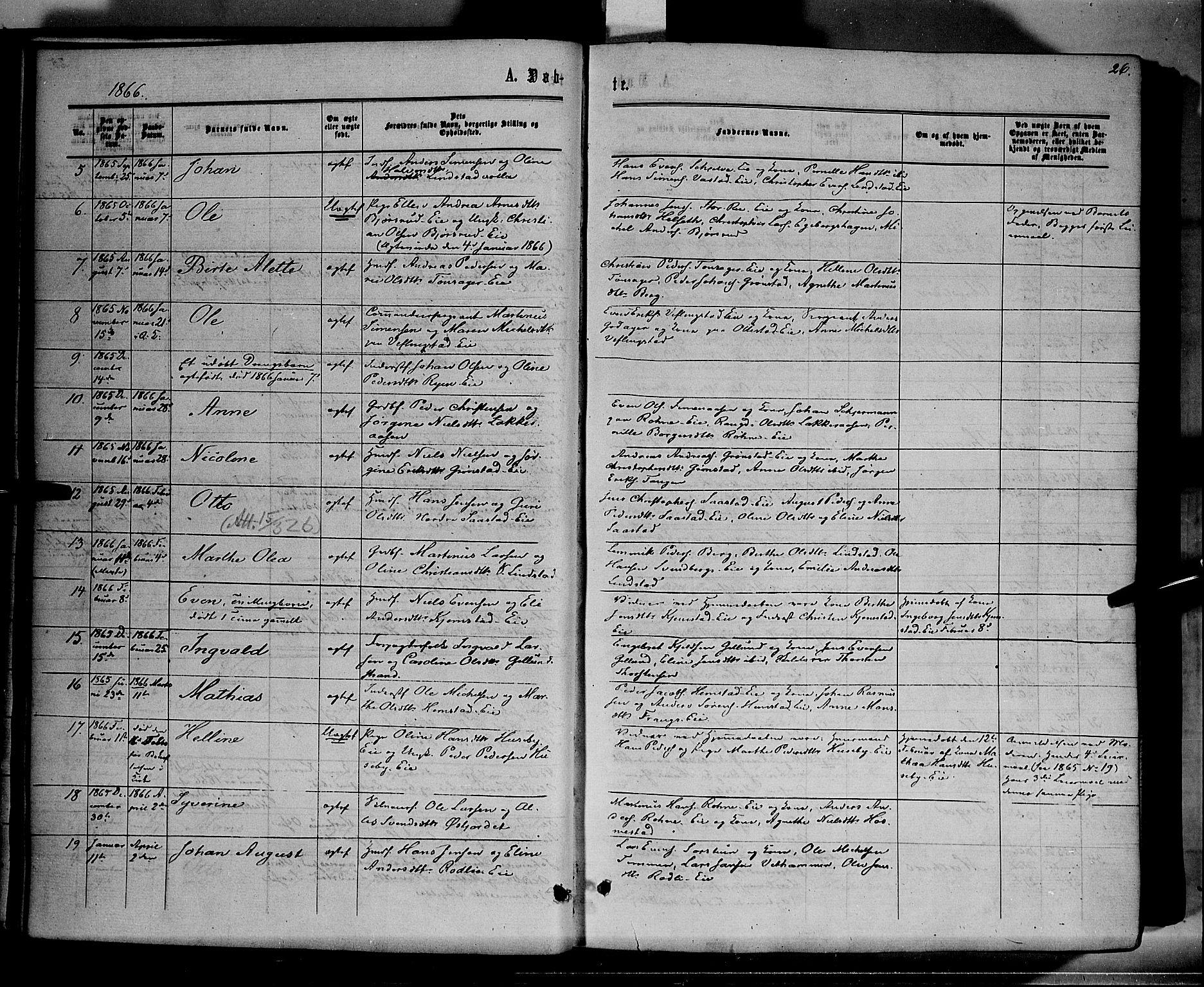 SAH, Stange prestekontor, K/L0013: Parish register (official) no. 13, 1862-1879, p. 26