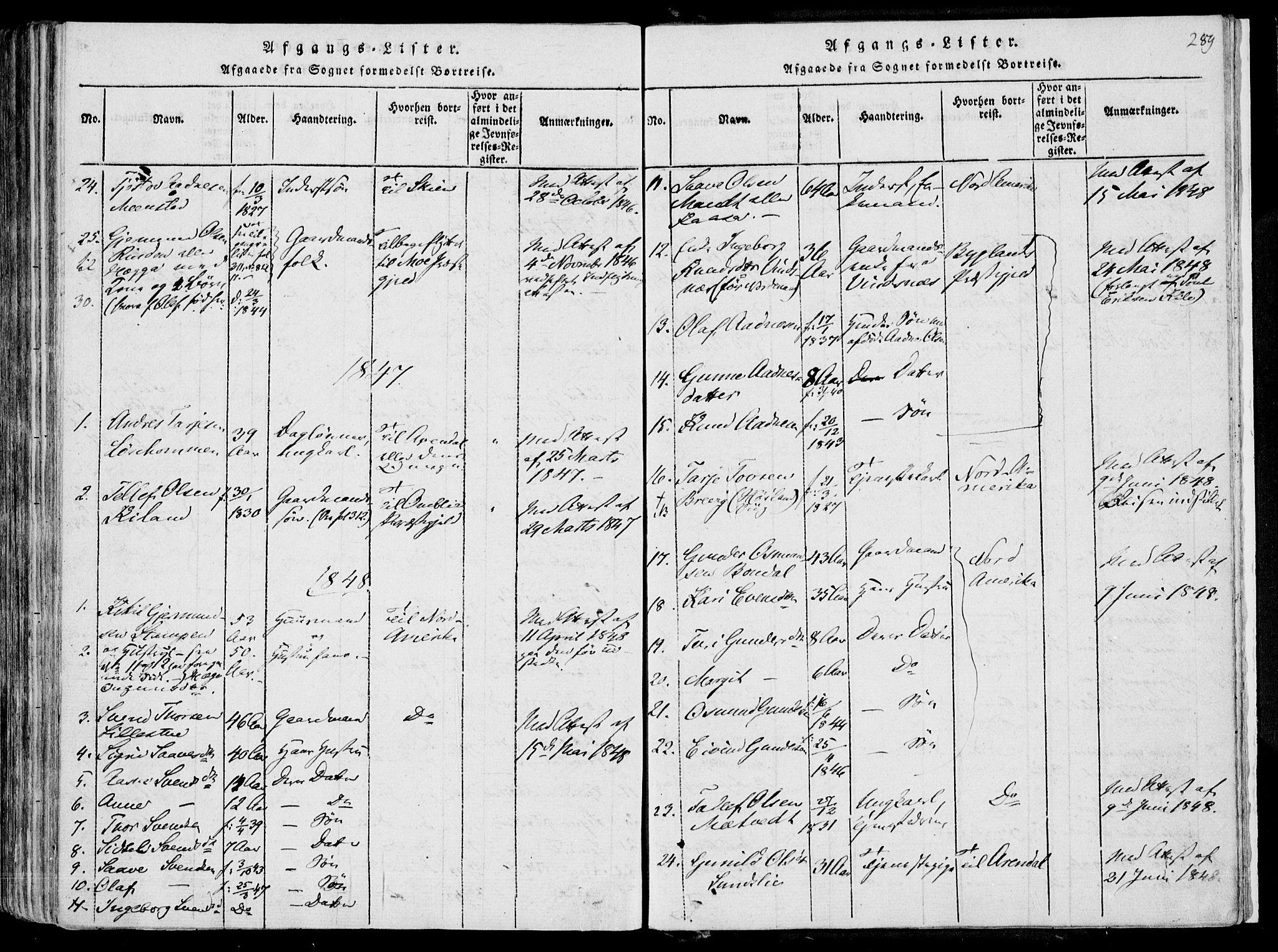 SAKO, Fyresdal kirkebøker, F/Fa/L0004: Parish register (official) no. I 4, 1815-1854, p. 289