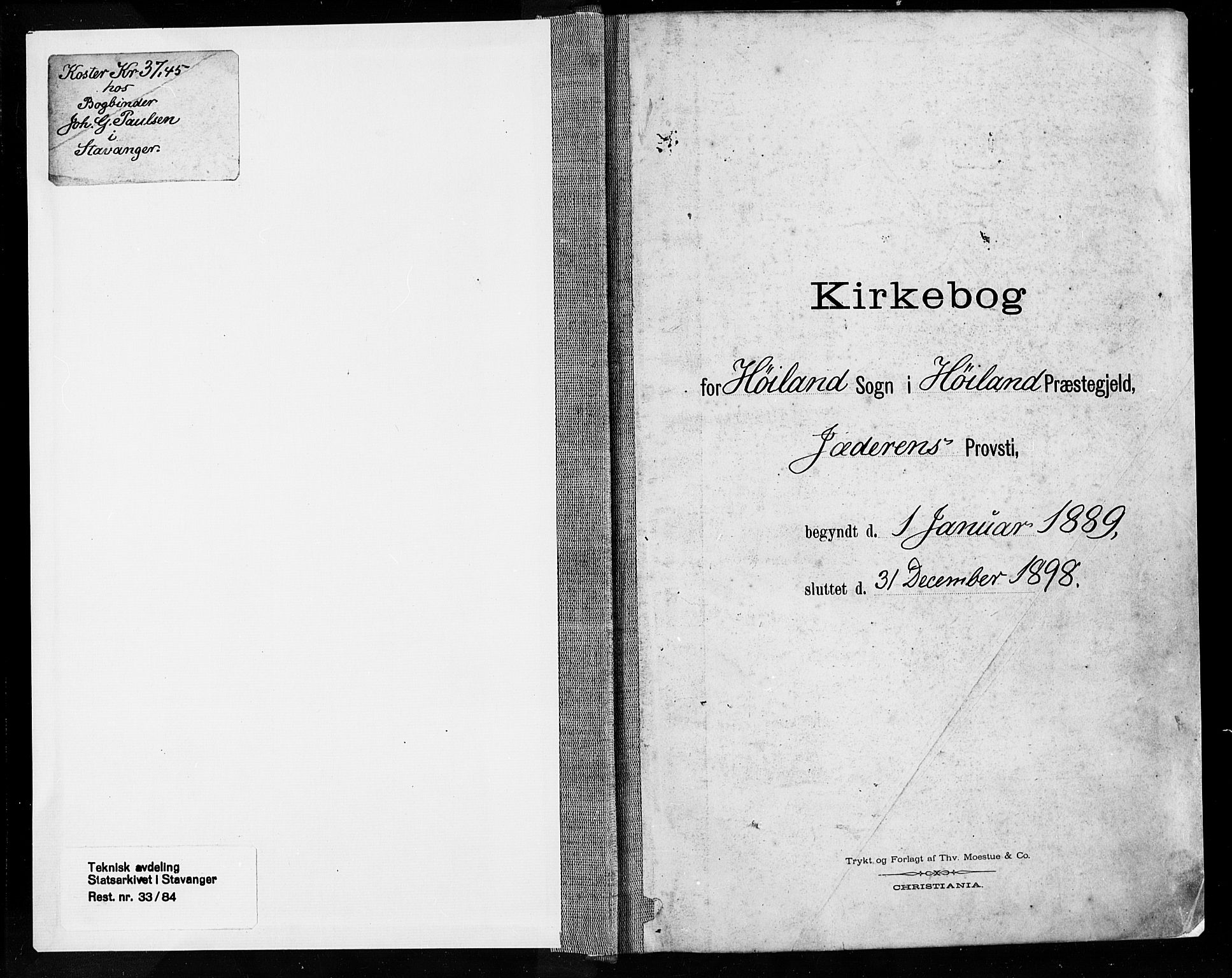 SAST, Høyland sokneprestkontor, 30BA/L0013: Parish register (official) no. A 13.1, 1889-1898