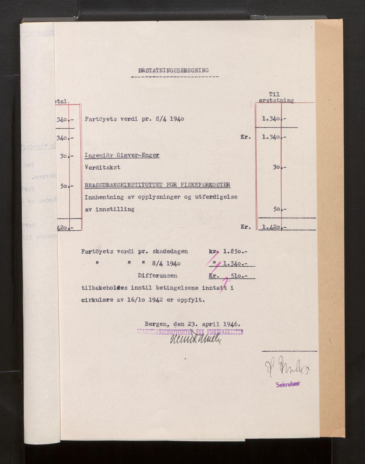 SAB, Fiskeridirektoratet - 1 Adm. ledelse - 13 Båtkontoret, La/L0042: Statens krigsforsikring for fiskeflåten, 1936-1971, p. 601