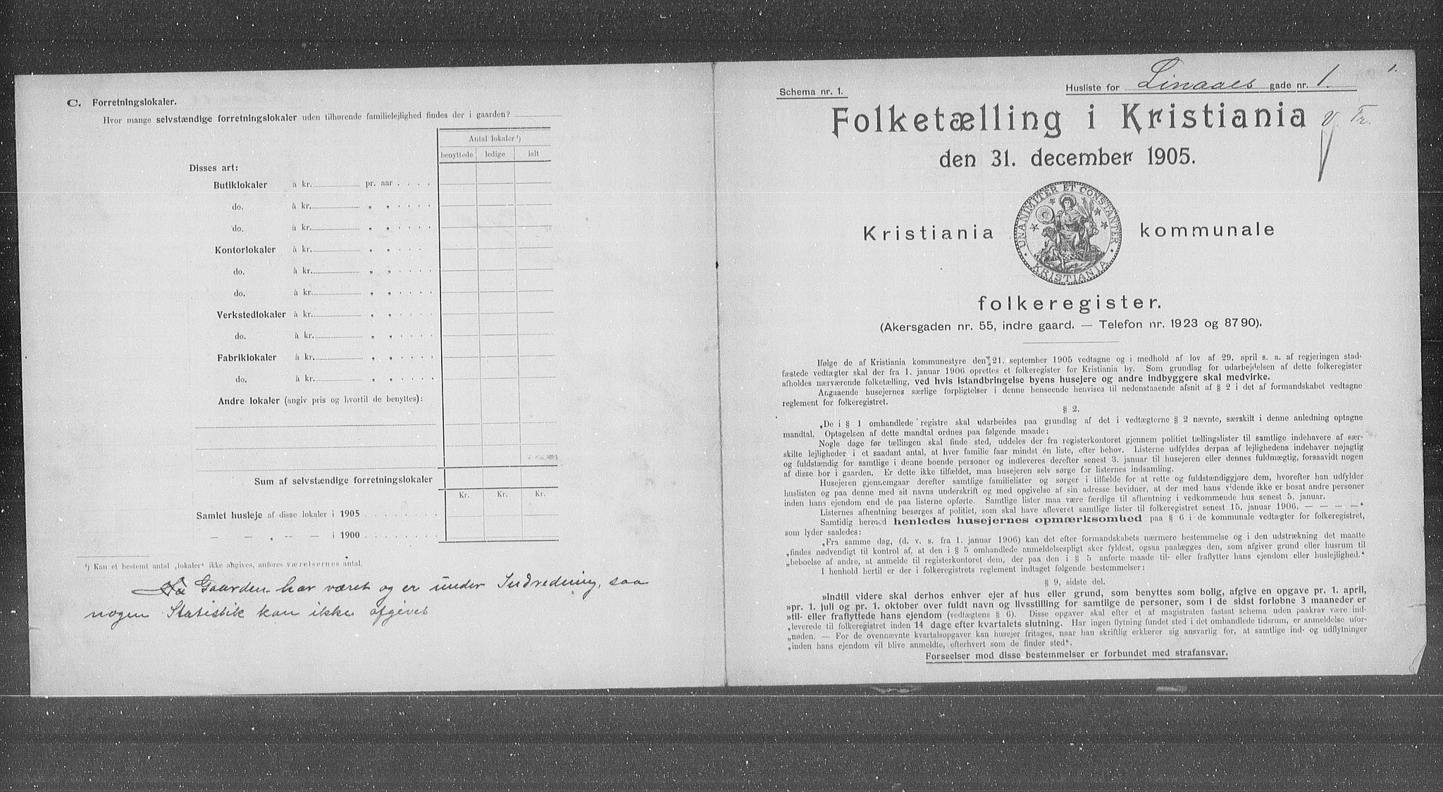 OBA, Municipal Census 1905 for Kristiania, 1905, p. 30367