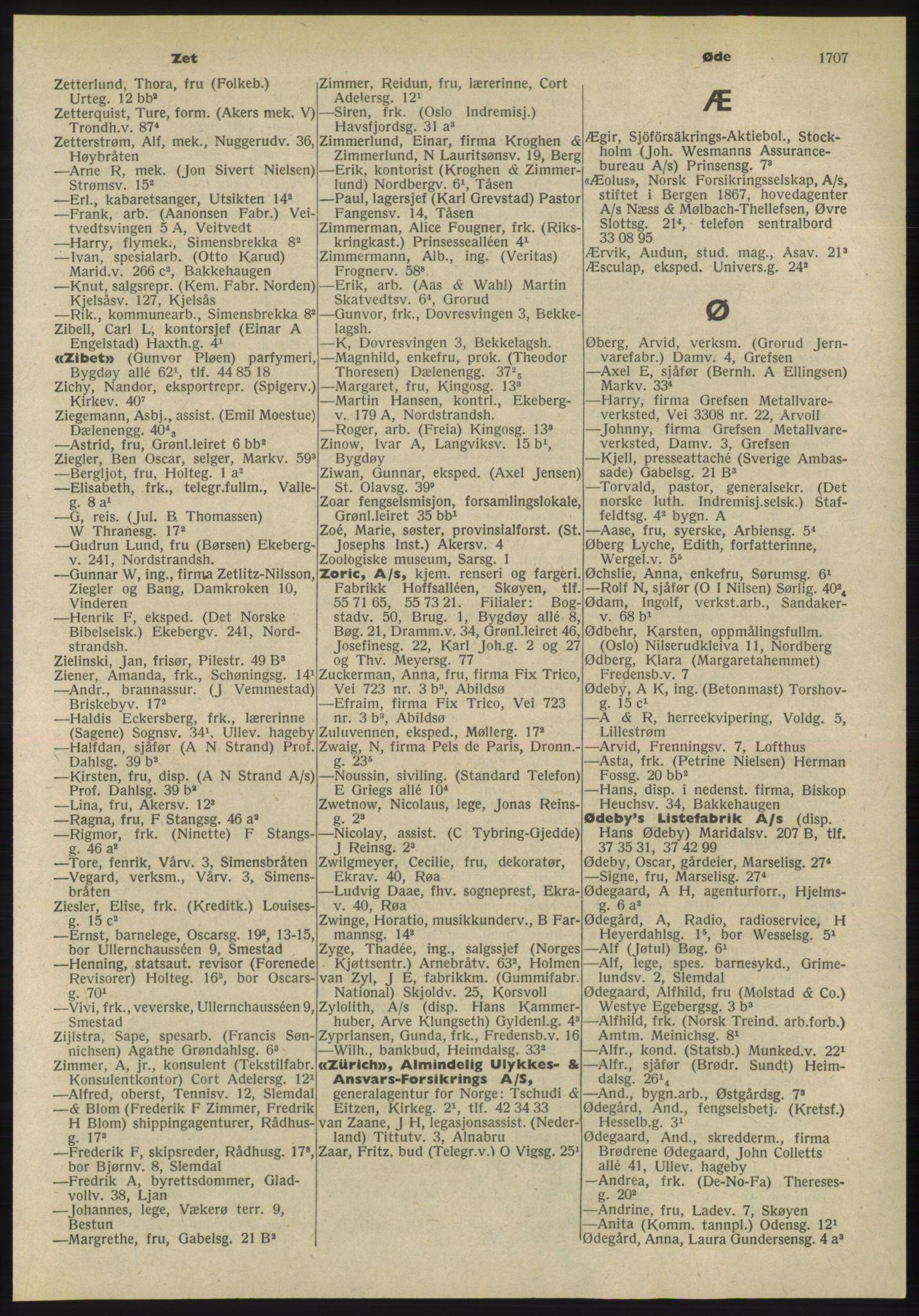 PUBL, Kristiania/Oslo adressebok, 1955, p. 1707