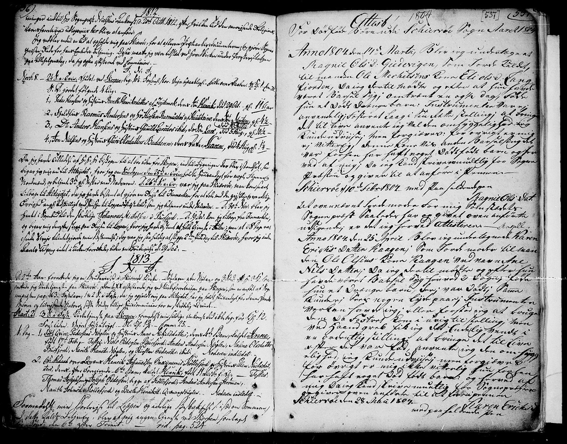 SATØ, Skjervøy sokneprestkontor, H/Ha/Haa/L0002kirke: Parish register (official) no. 2, 1781-1817, p. 536