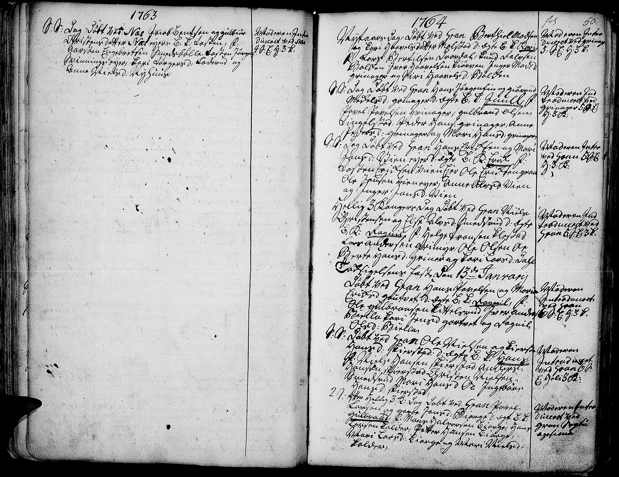 SAH, Gran prestekontor, Parish register (official) no. 4, 1759-1775, p. 50