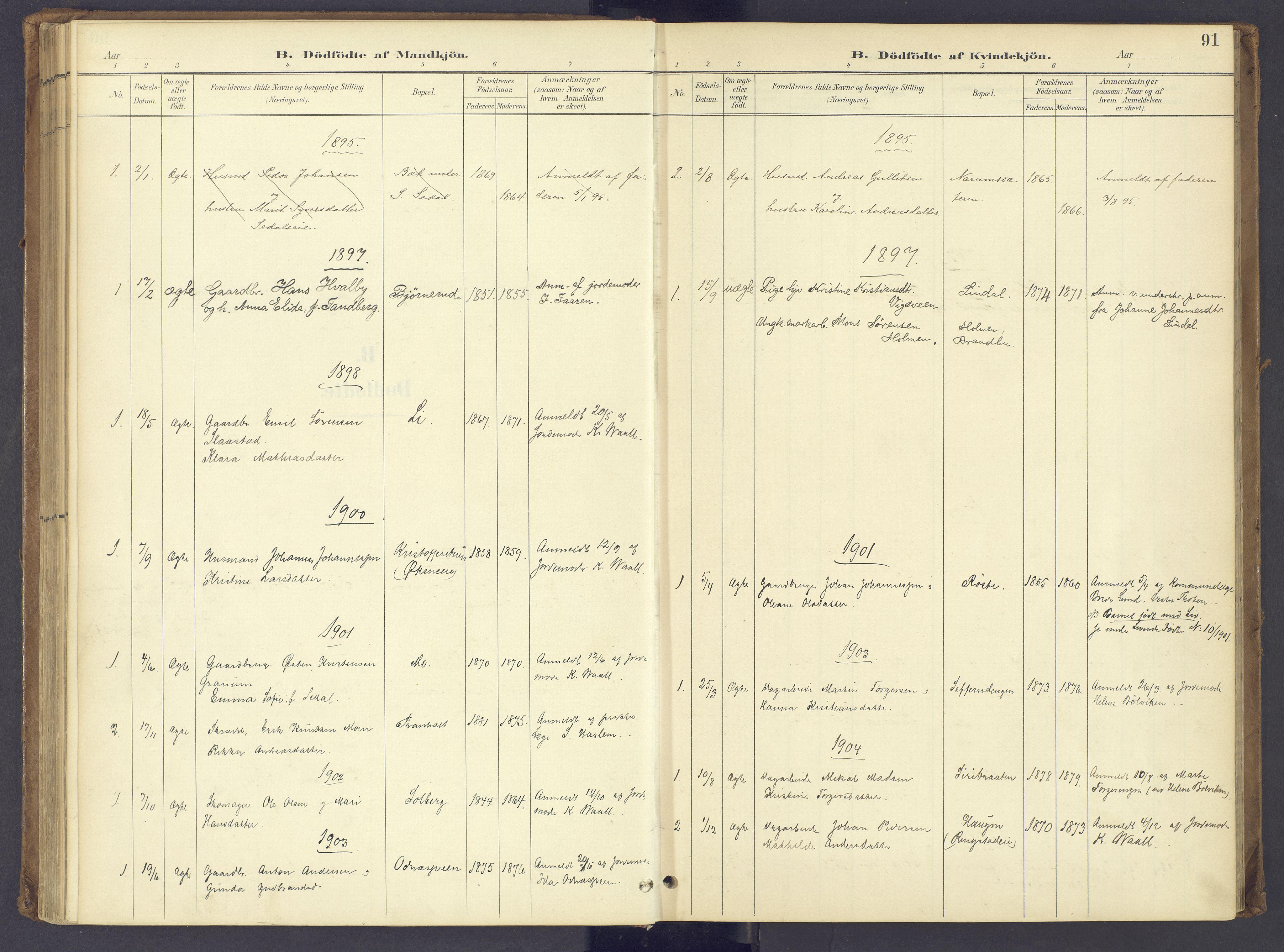 SAH, Søndre Land prestekontor, K/L0006: Parish register (official) no. 6, 1895-1904, p. 91