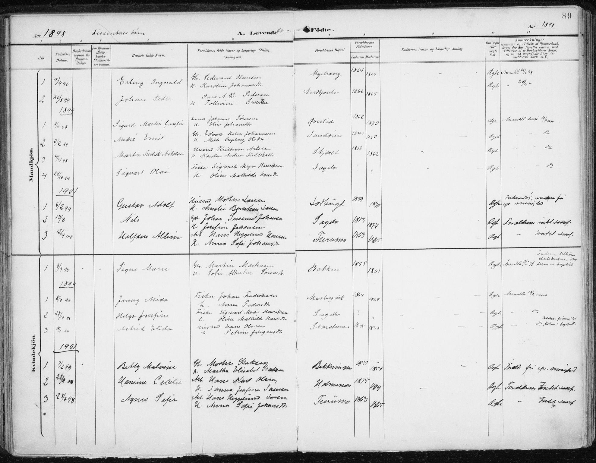 SATØ, Balsfjord sokneprestembete, Parish register (official) no. 6, 1897-1909, p. 89