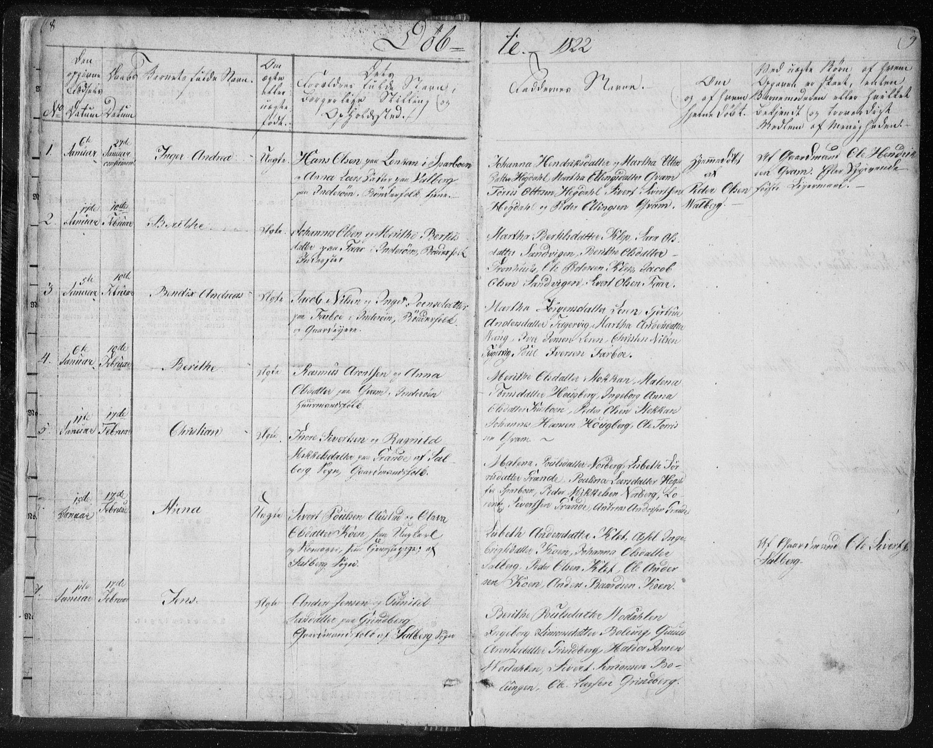 SAT, Ministerialprotokoller, klokkerbøker og fødselsregistre - Nord-Trøndelag, 730/L0276: Parish register (official) no. 730A05, 1822-1830, p. 8-9