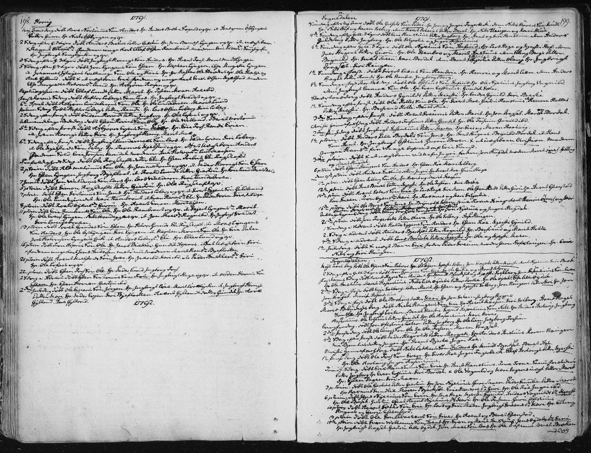 SAT, Ministerialprotokoller, klokkerbøker og fødselsregistre - Sør-Trøndelag, 687/L0992: Parish register (official) no. 687A03 /1, 1788-1815, p. 198-199