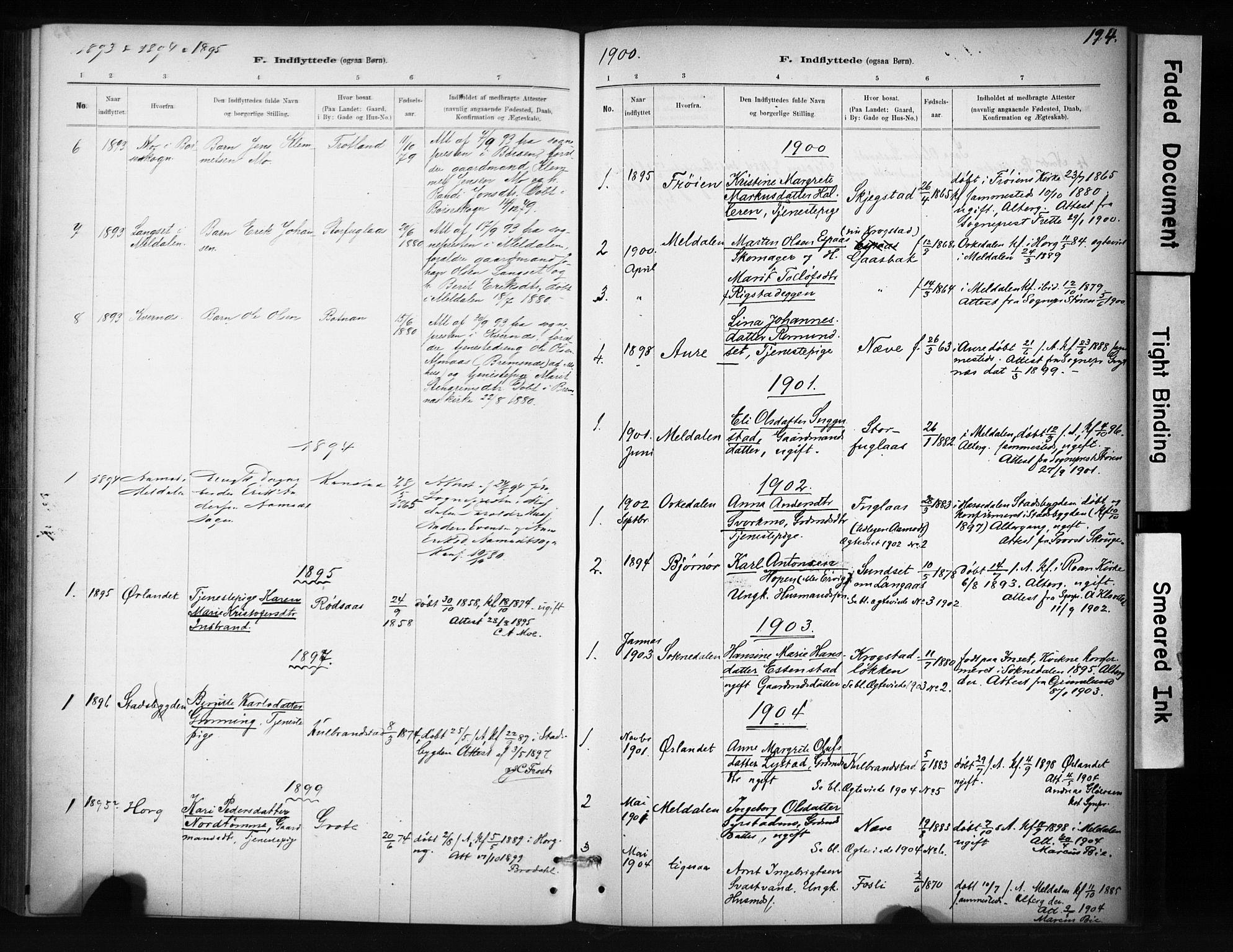 SAT, Ministerialprotokoller, klokkerbøker og fødselsregistre - Sør-Trøndelag, 694/L1127: Parish register (official) no. 694A01, 1887-1905, p. 194