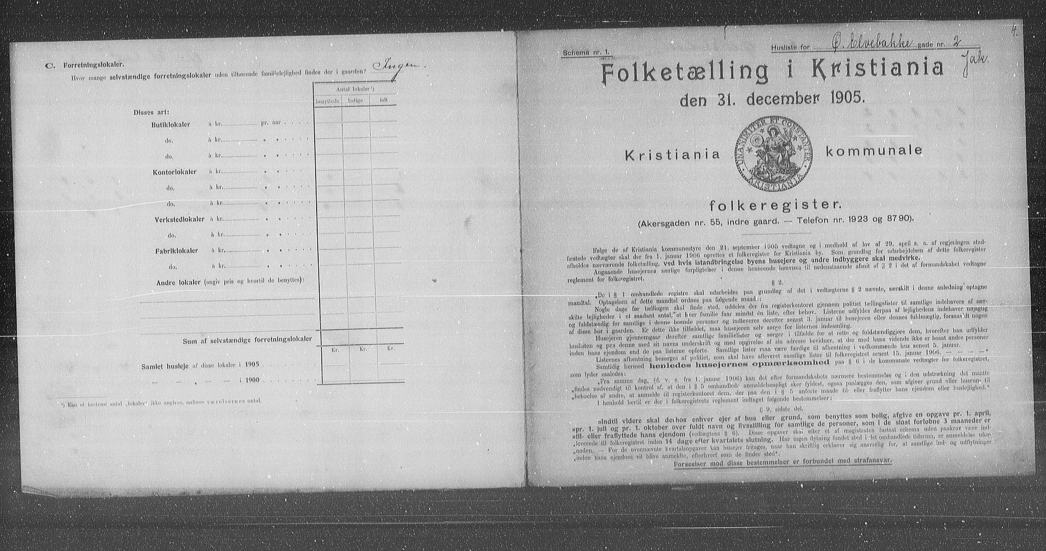 OBA, Municipal Census 1905 for Kristiania, 1905, p. 68017