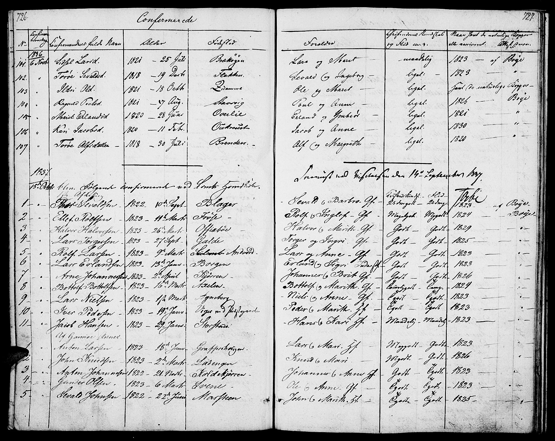 SAH, Lom prestekontor, K/L0005: Parish register (official) no. 5, 1825-1837, p. 726-727