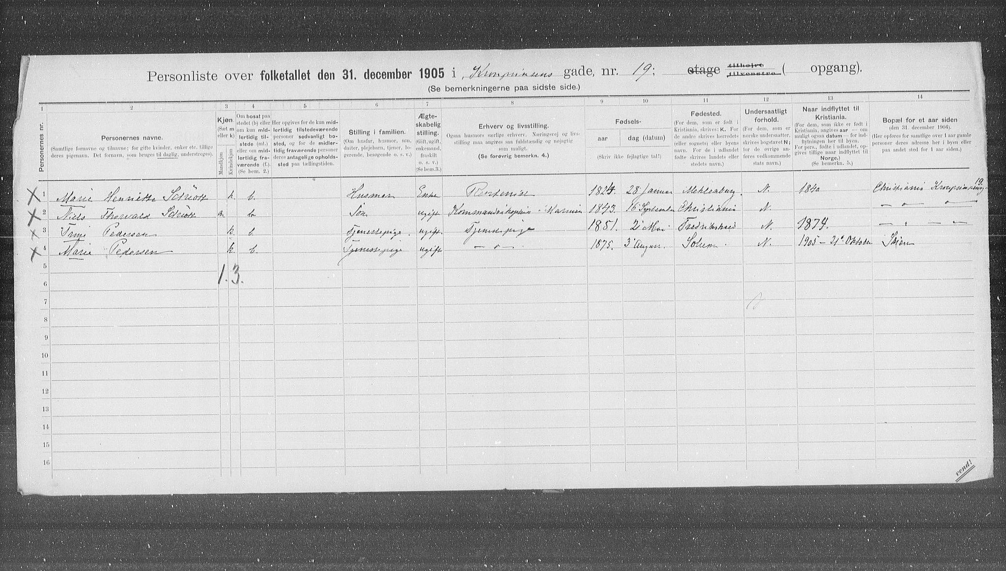 OBA, Municipal Census 1905 for Kristiania, 1905, p. 28884