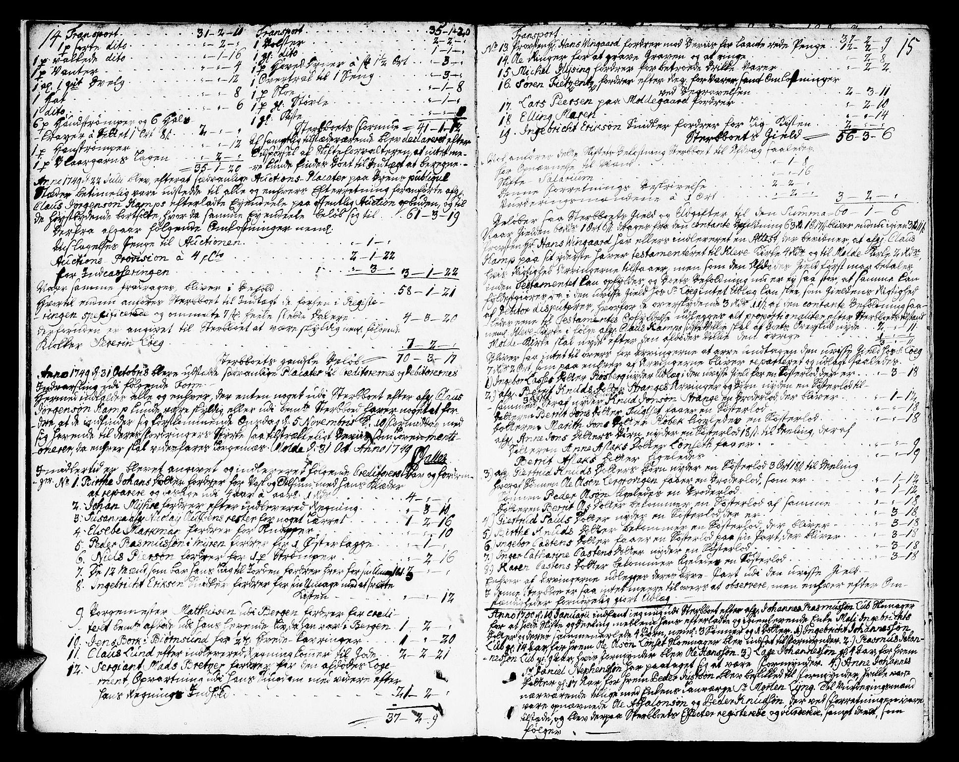 SAT, Molde byfogd, 3/3Aa/L0001: Skifteprotokoll, 1748-1768, p. 14-15