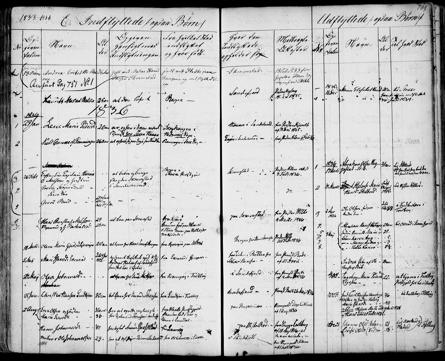 SAKO, Sandar kirkebøker, F/Fa/L0005: Parish register (official) no. 5, 1832-1847, p. 768-769