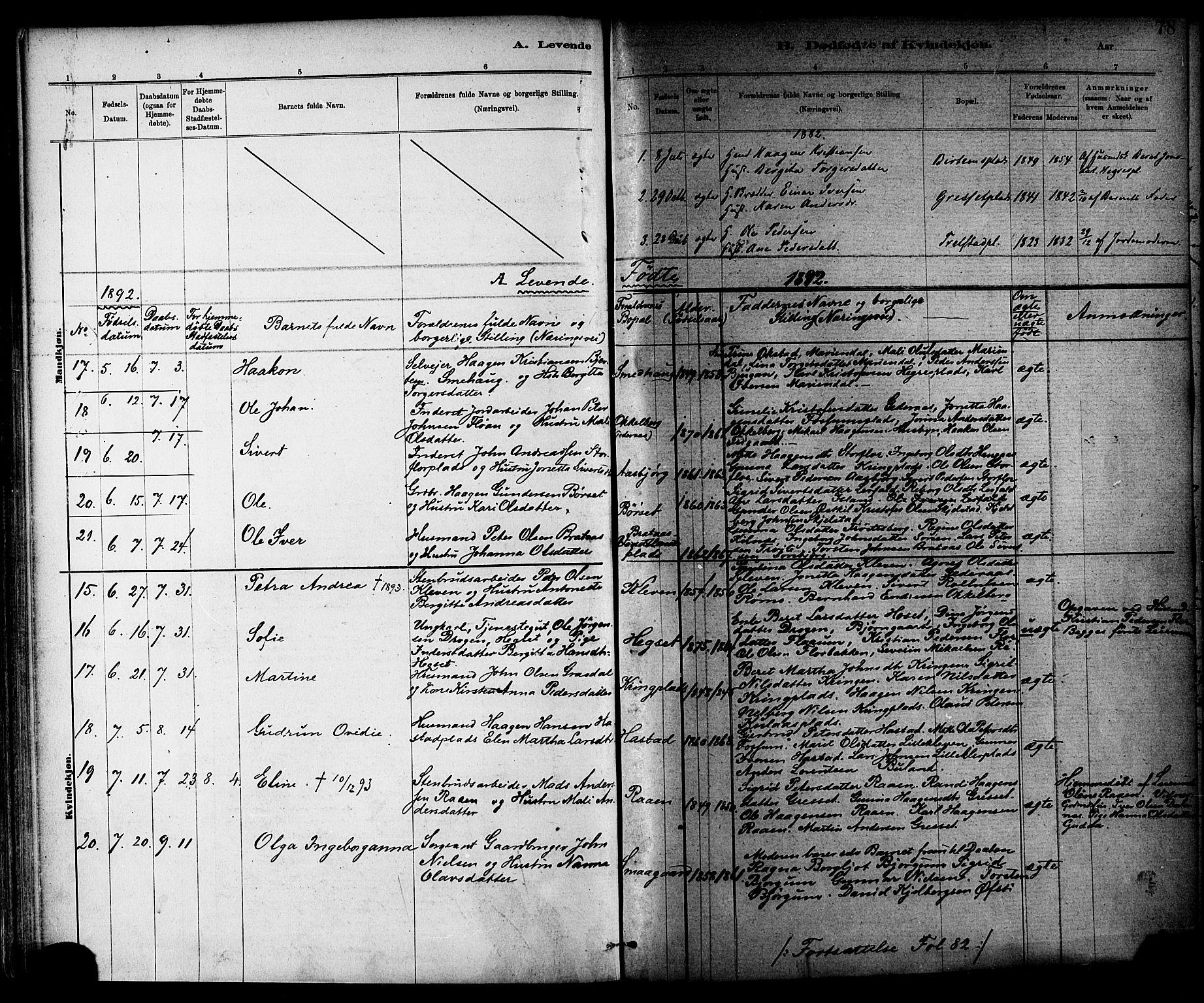 SAT, Ministerialprotokoller, klokkerbøker og fødselsregistre - Nord-Trøndelag, 703/L0030: Parish register (official) no. 703A03, 1880-1892, p. 78
