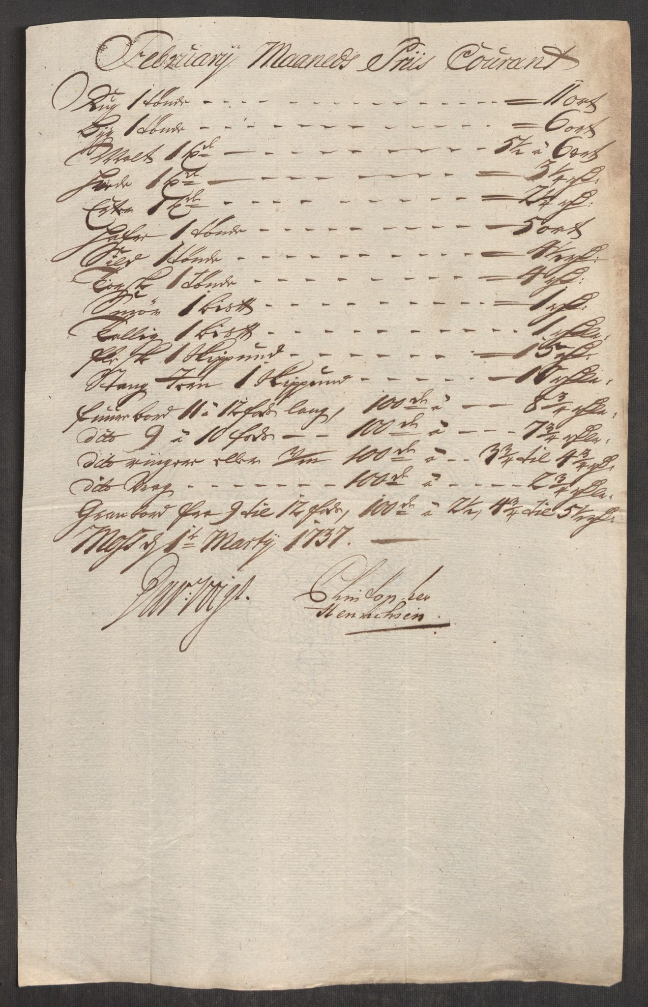 RA, Rentekammeret inntil 1814, Realistisk ordnet avdeling, Oe/L0001: [Ø1]: Priskuranter, 1712-1739, p. 464