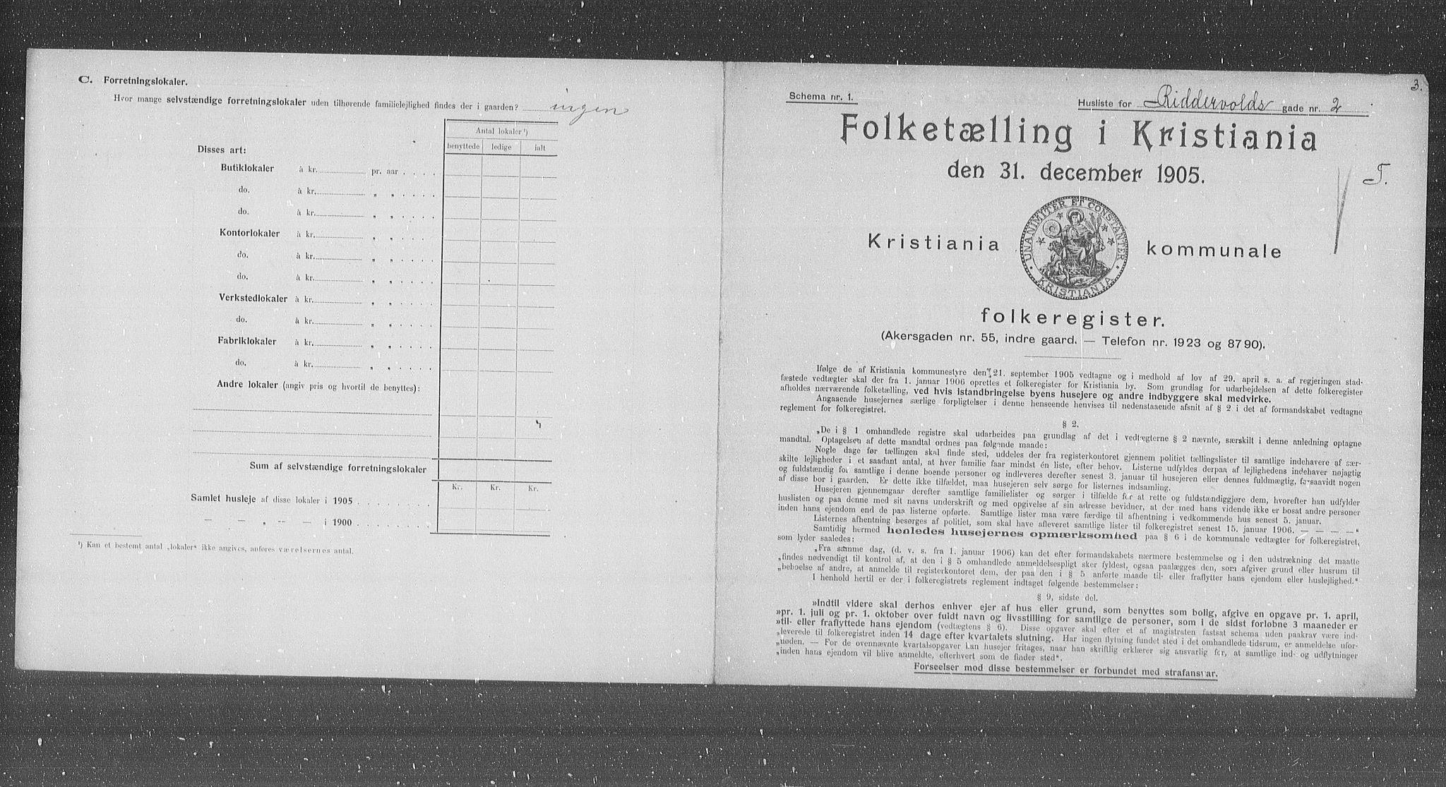 OBA, Municipal Census 1905 for Kristiania, 1905, p. 43719